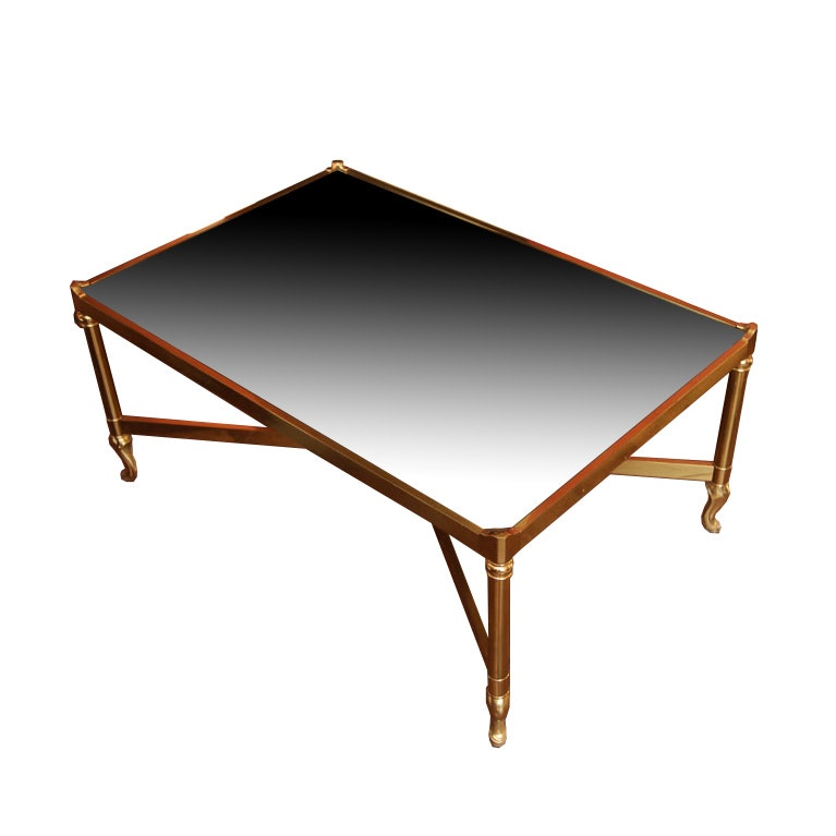 Hollywood Regency Style Glass Top Coffee Table