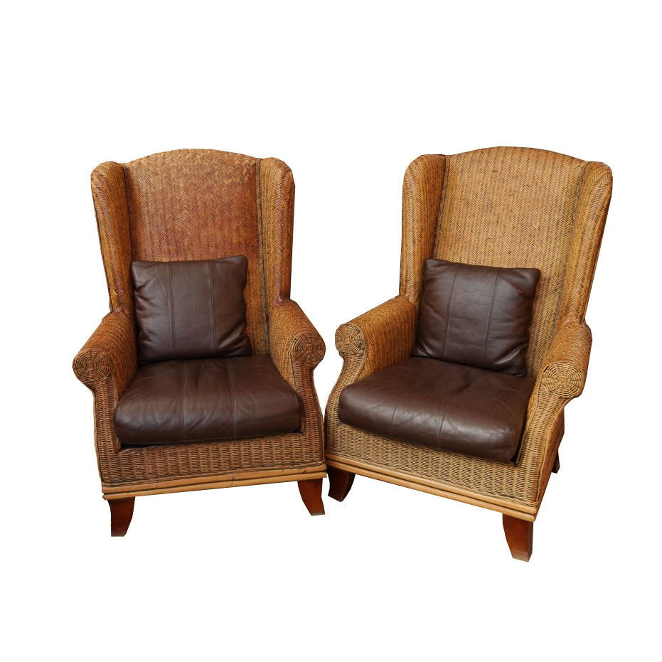 Wicker Wingback Armchairs by Padma's Plantation
