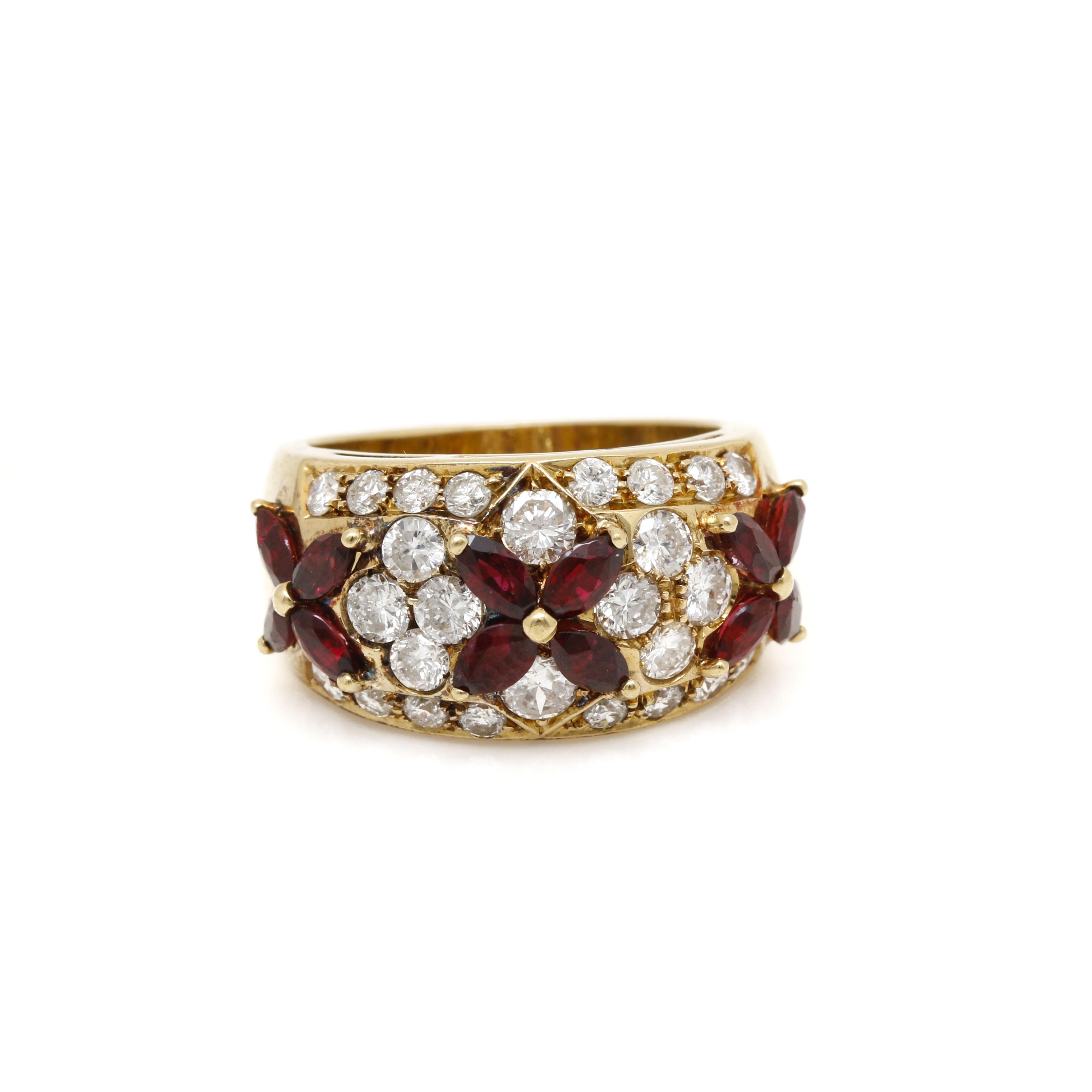 18K Yellow Gold Ruby 1.74 CTW Diamond Ring