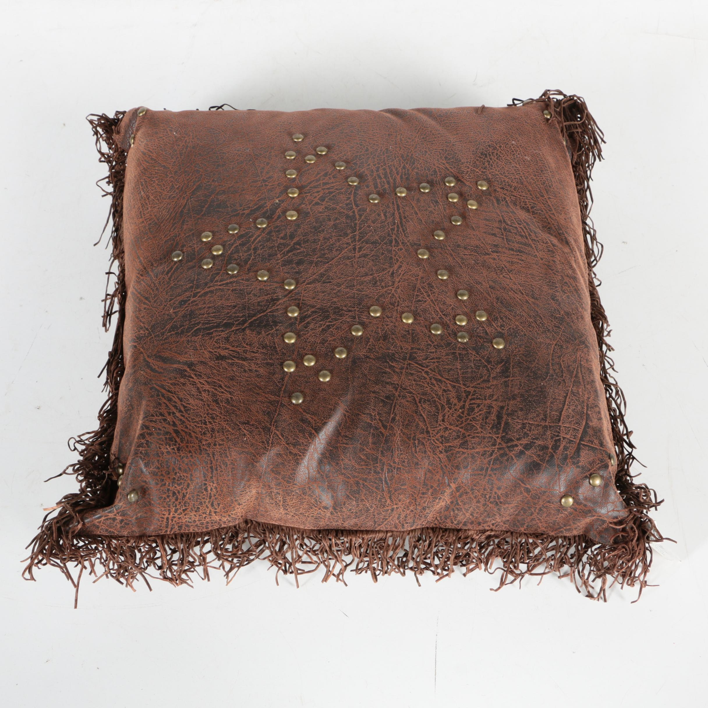 Tooled And Embellished Faux Leather Accent Pillows By Side