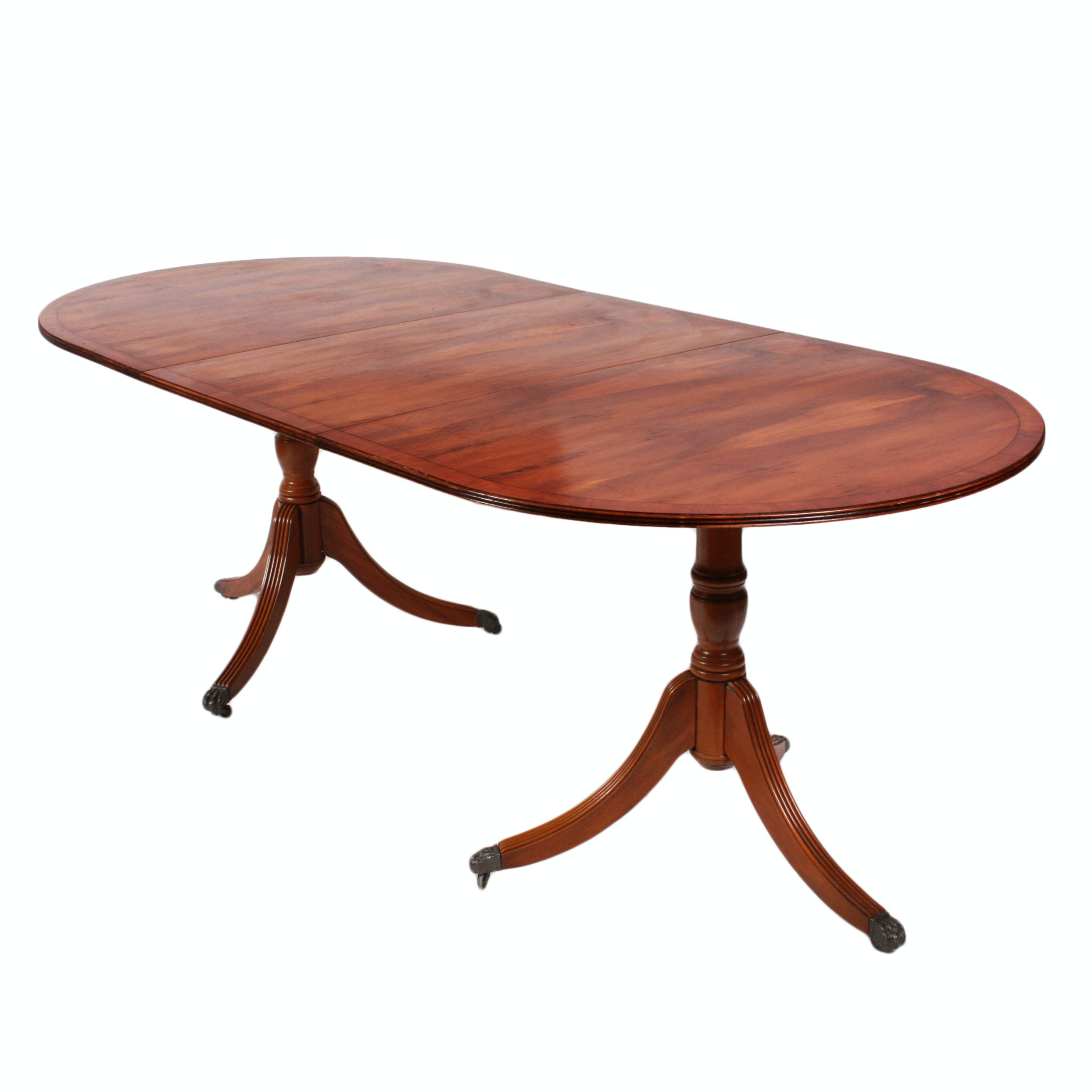 Duncan Phyfe Style Yew Wood Double Pedestal Dining Table
