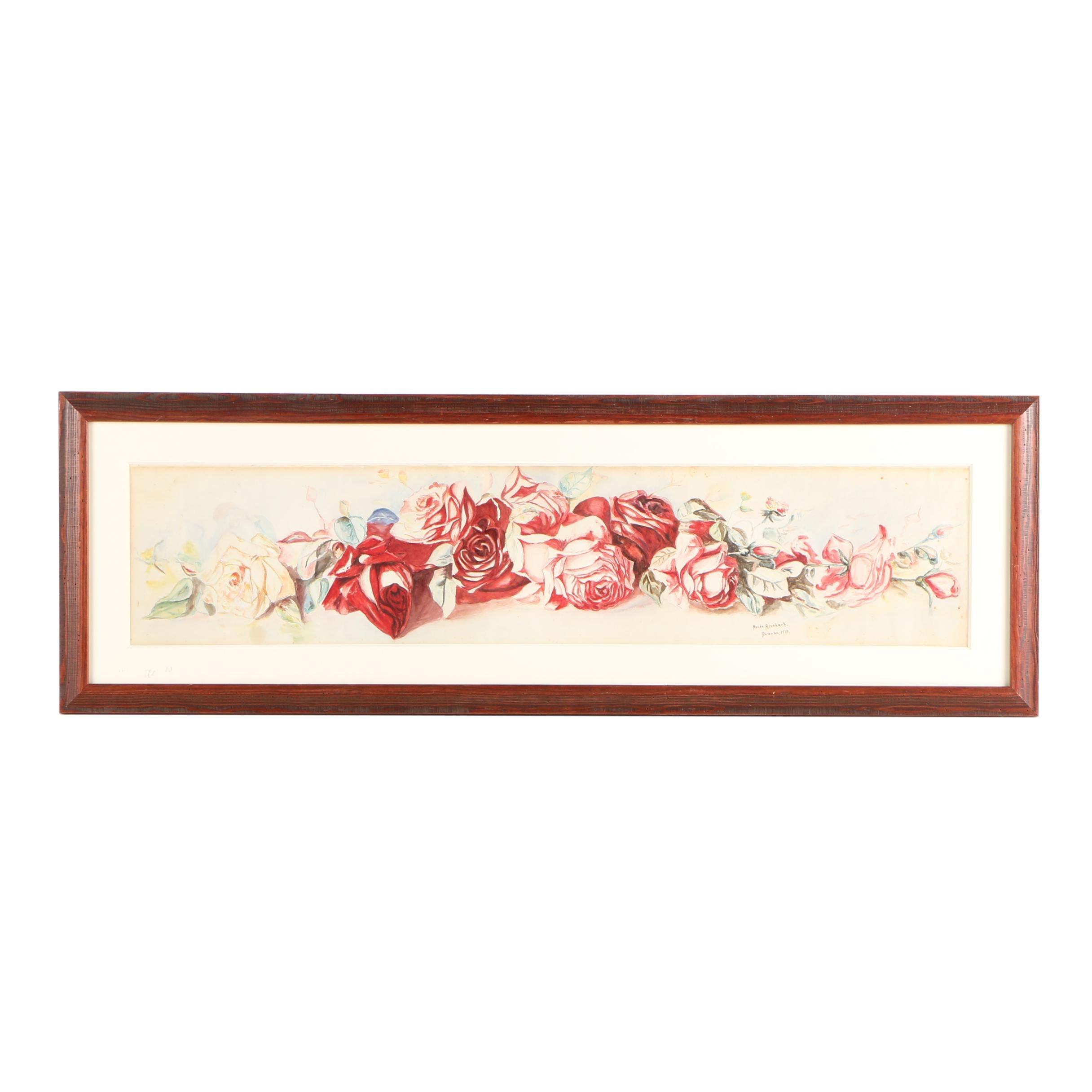 Maude Rinehart Watercolor Painting Of Roses Ebth