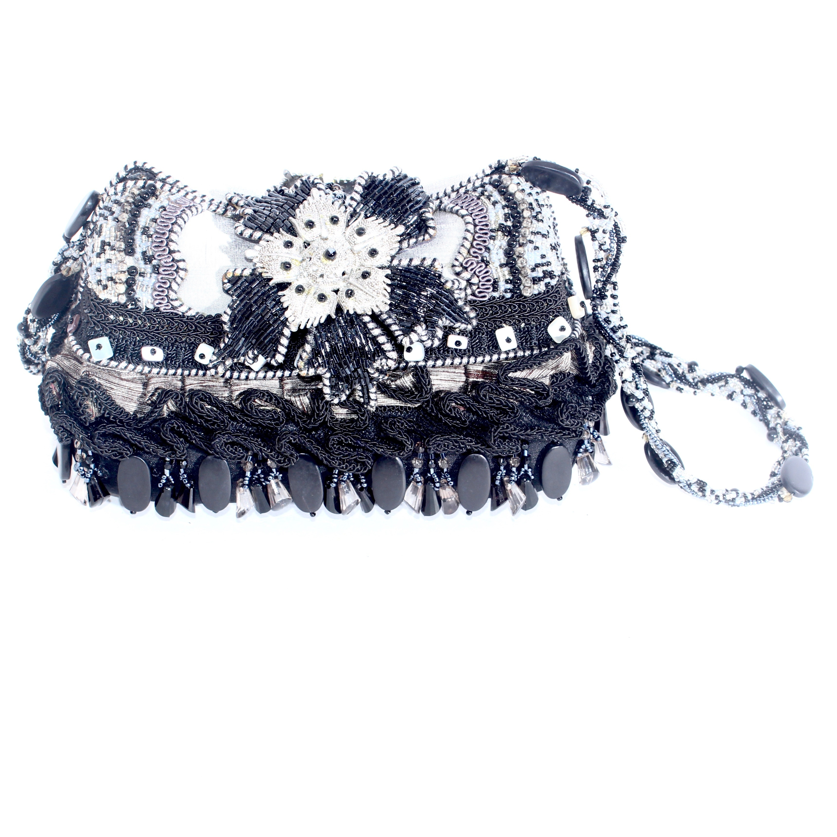 Mary Frances Black and Silver Tone Snowflake Shoulder Bag