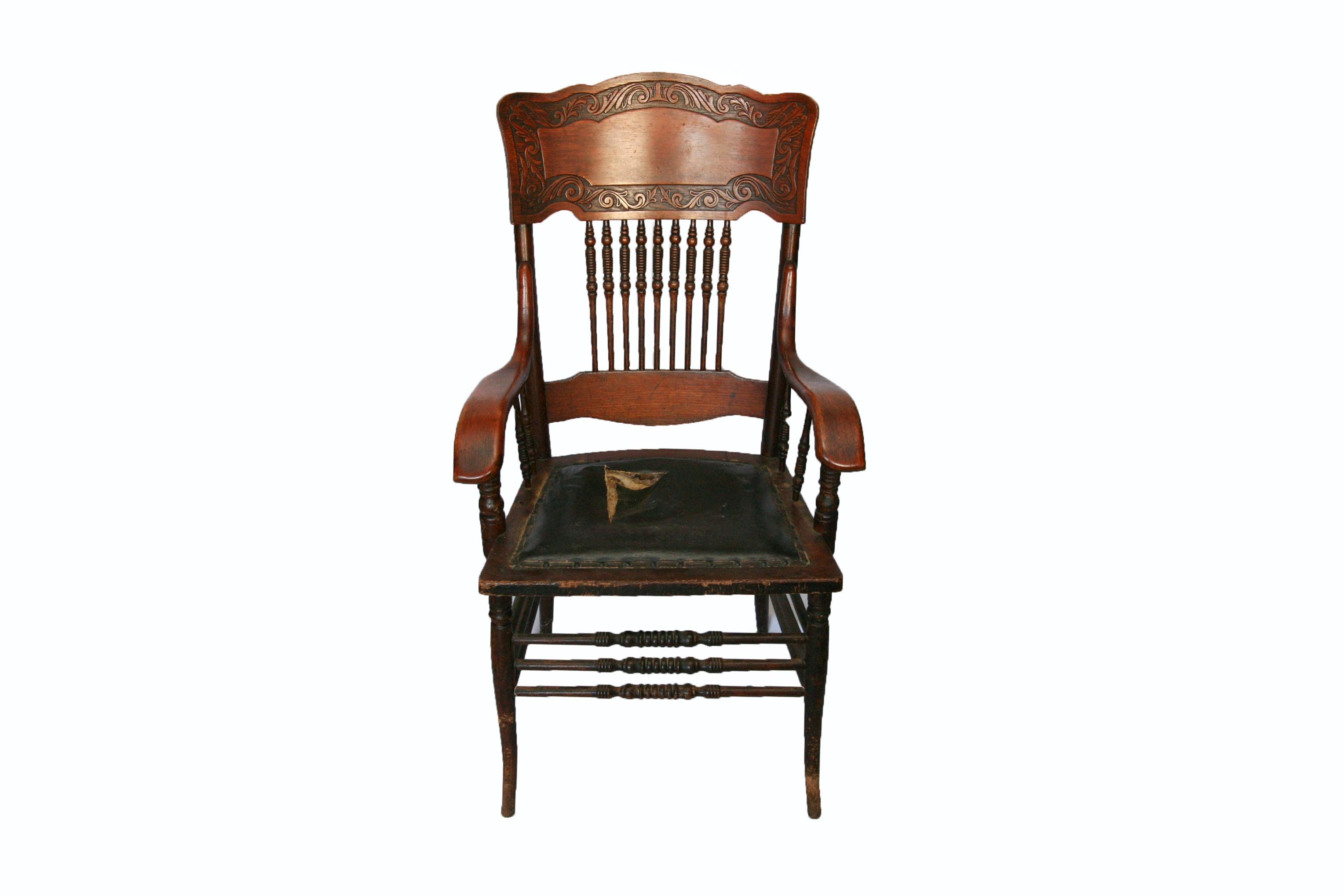 Antique Colonial Revival Oak Pressed Back Armchair