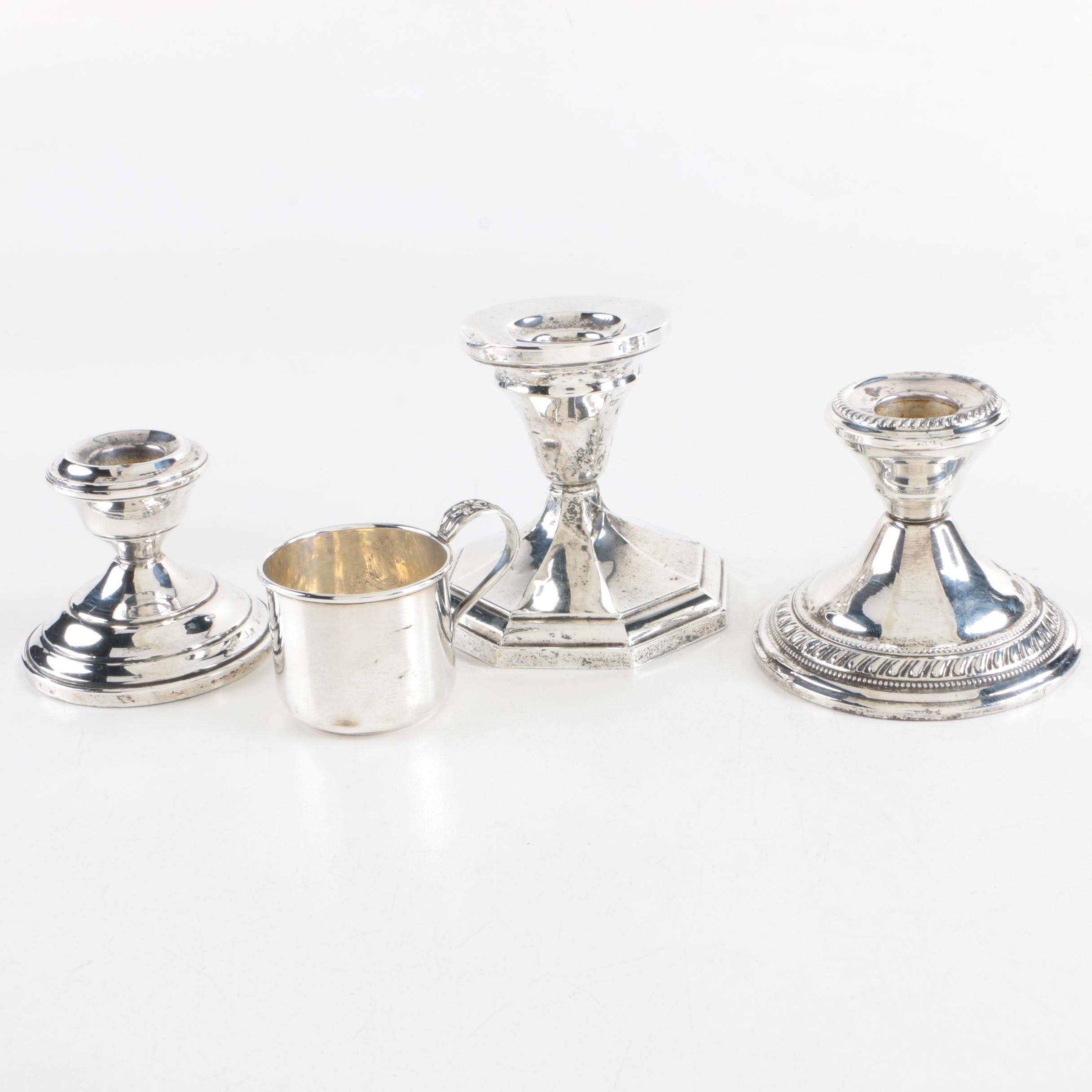 Frank M. Whiting & Co. Sterling Baby Cup with Weighted Sterling Candleholders