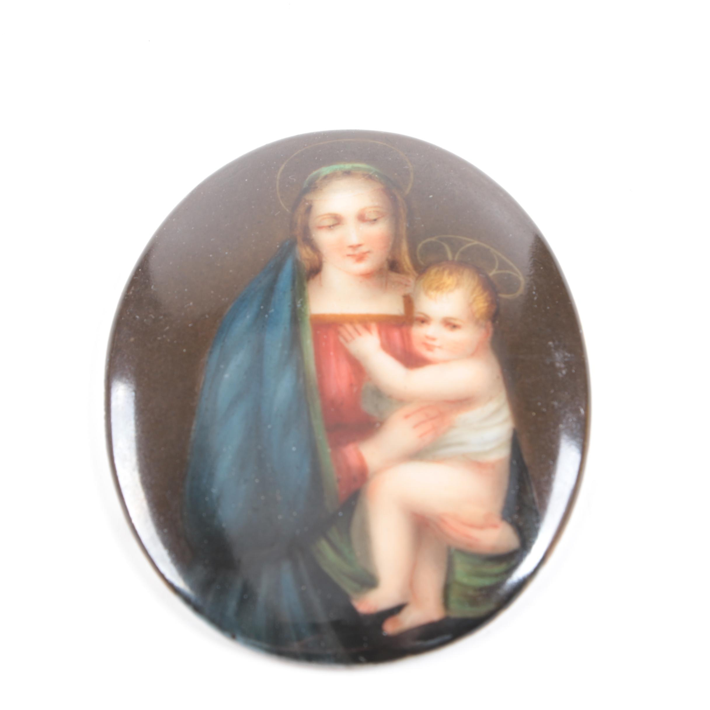 Porcelain Hand Painted Madonna and Child Plaque