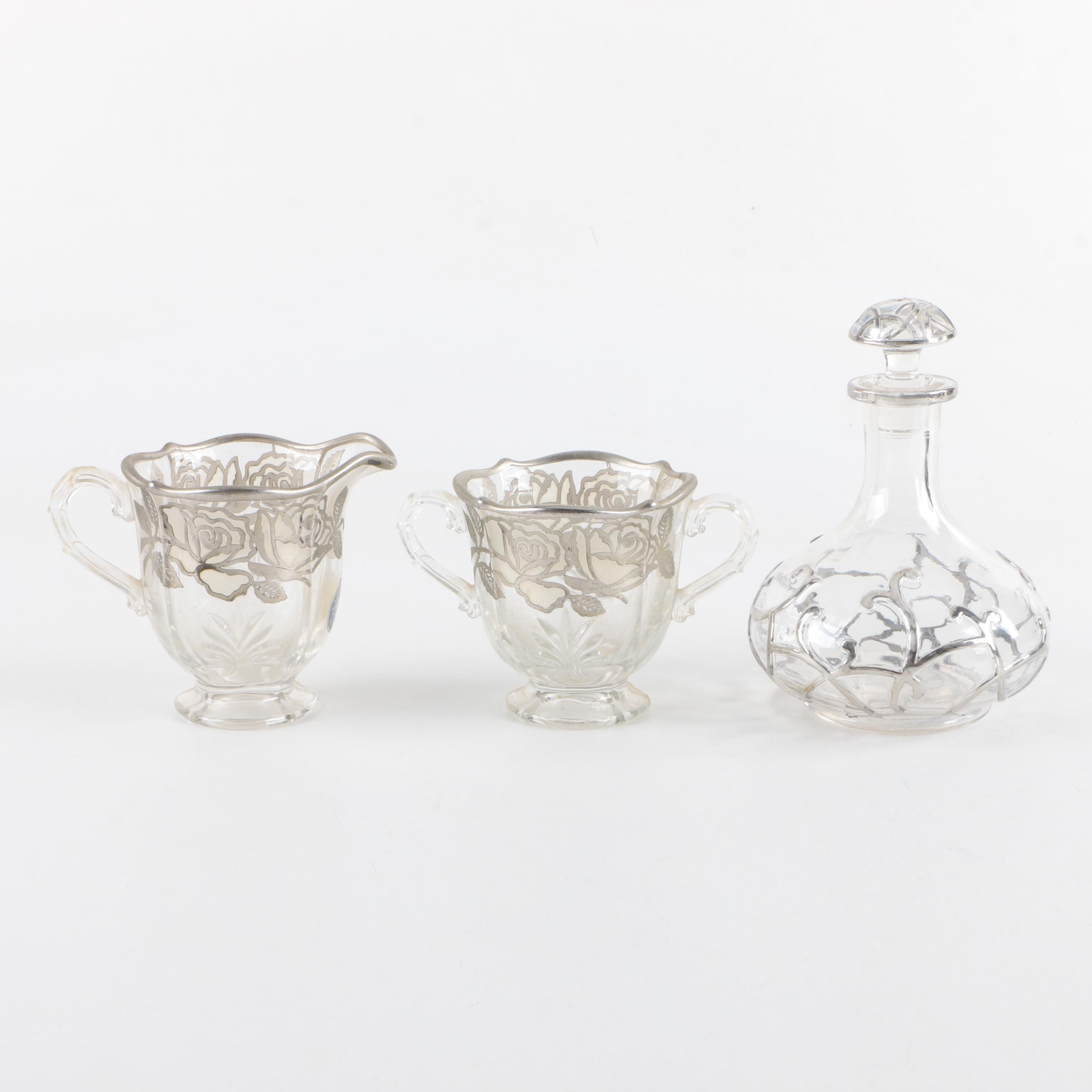 National Silver Deposit Ware Sterling Overlay Creamer and Sugar with Decanter