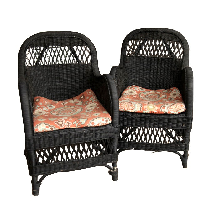Pair of Wicker Patio Chairs