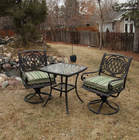 Pair of Patio Swivel Chairs and Table