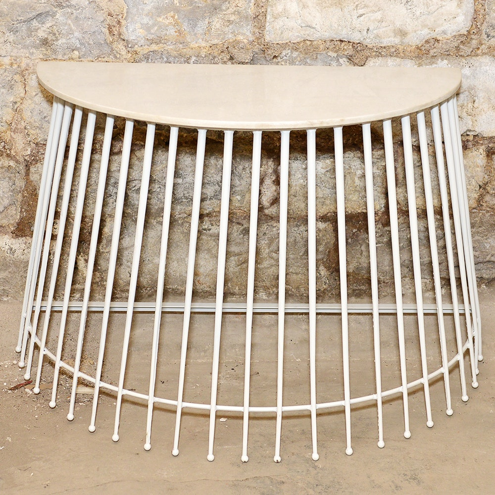 Modern Style Demilune Caged Console Table