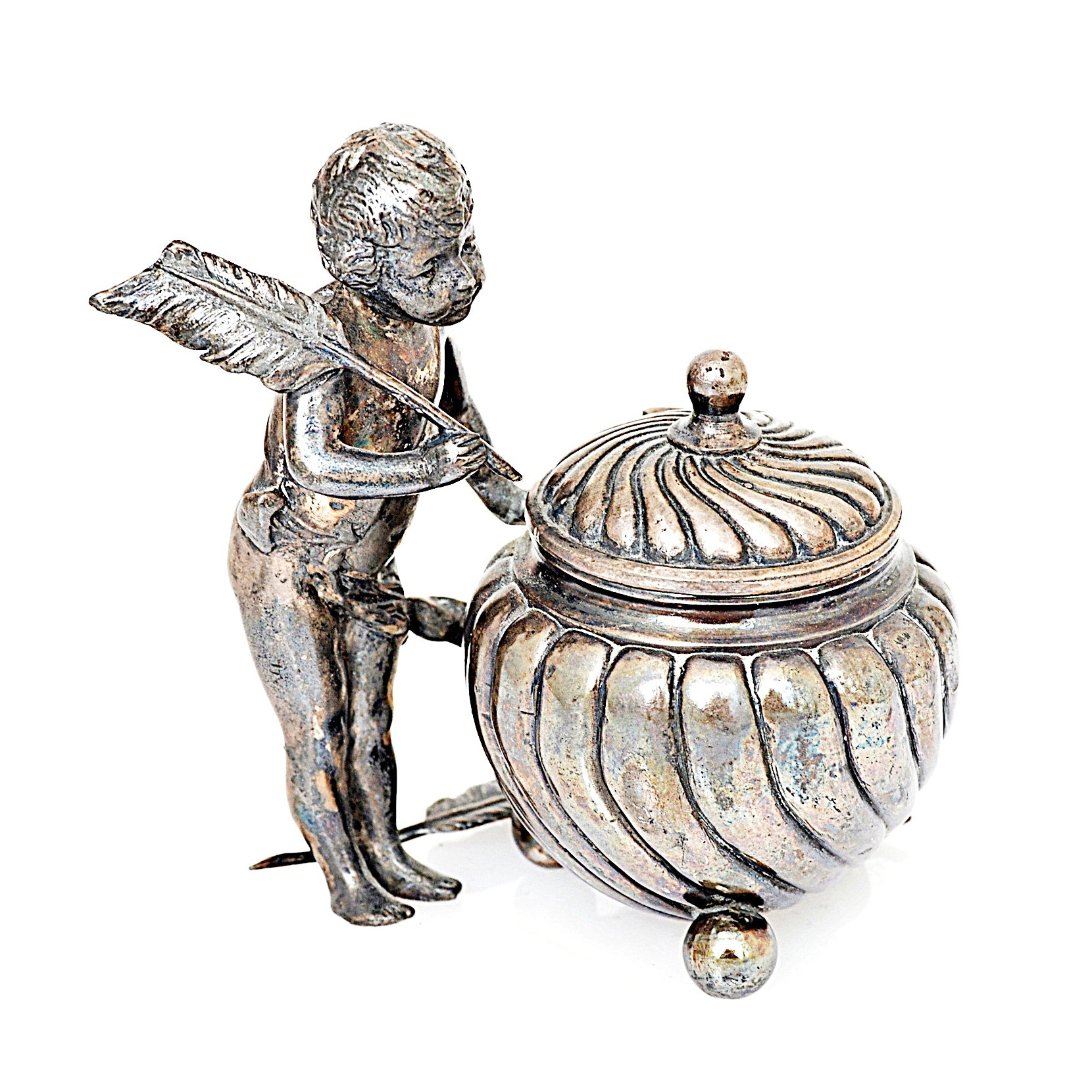 Victorian Silver-Plated Ink Well with Cupid