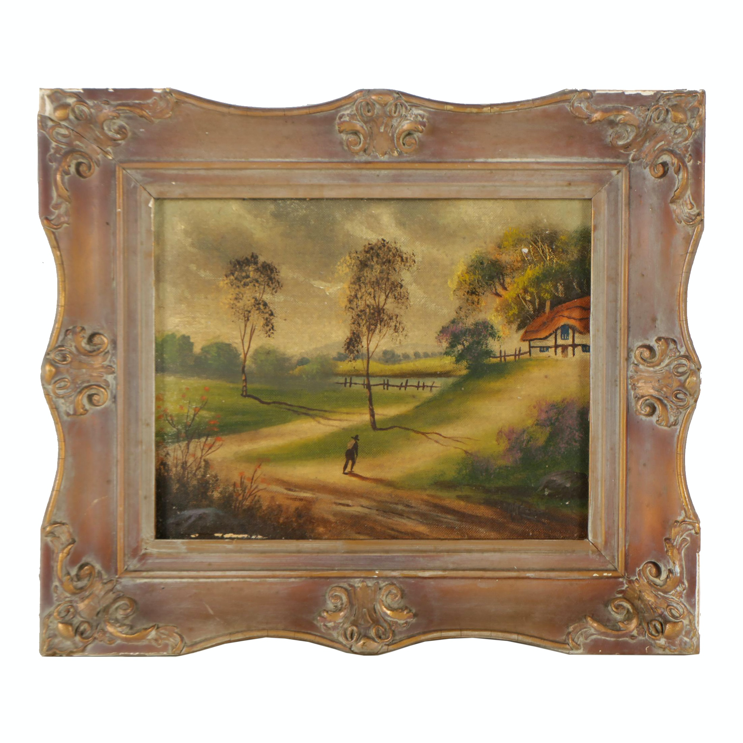 20th Century Oil Painting of a Rural Scene