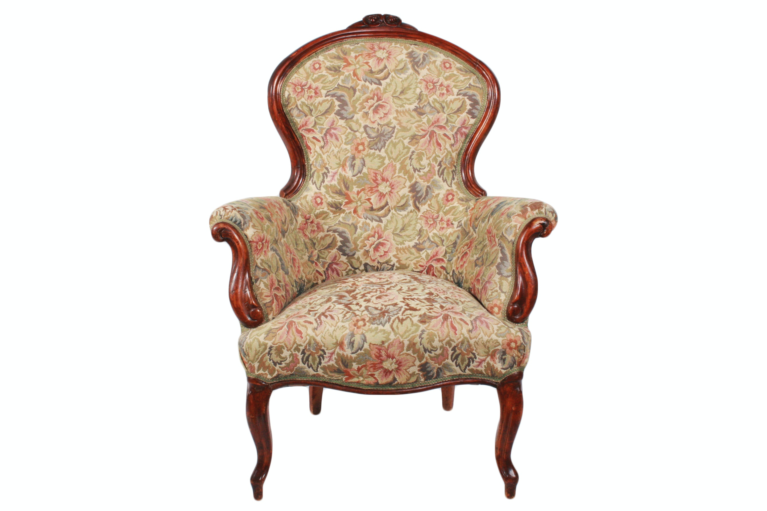 Antique Victorian Mahogany Upholstered Parlor Chair