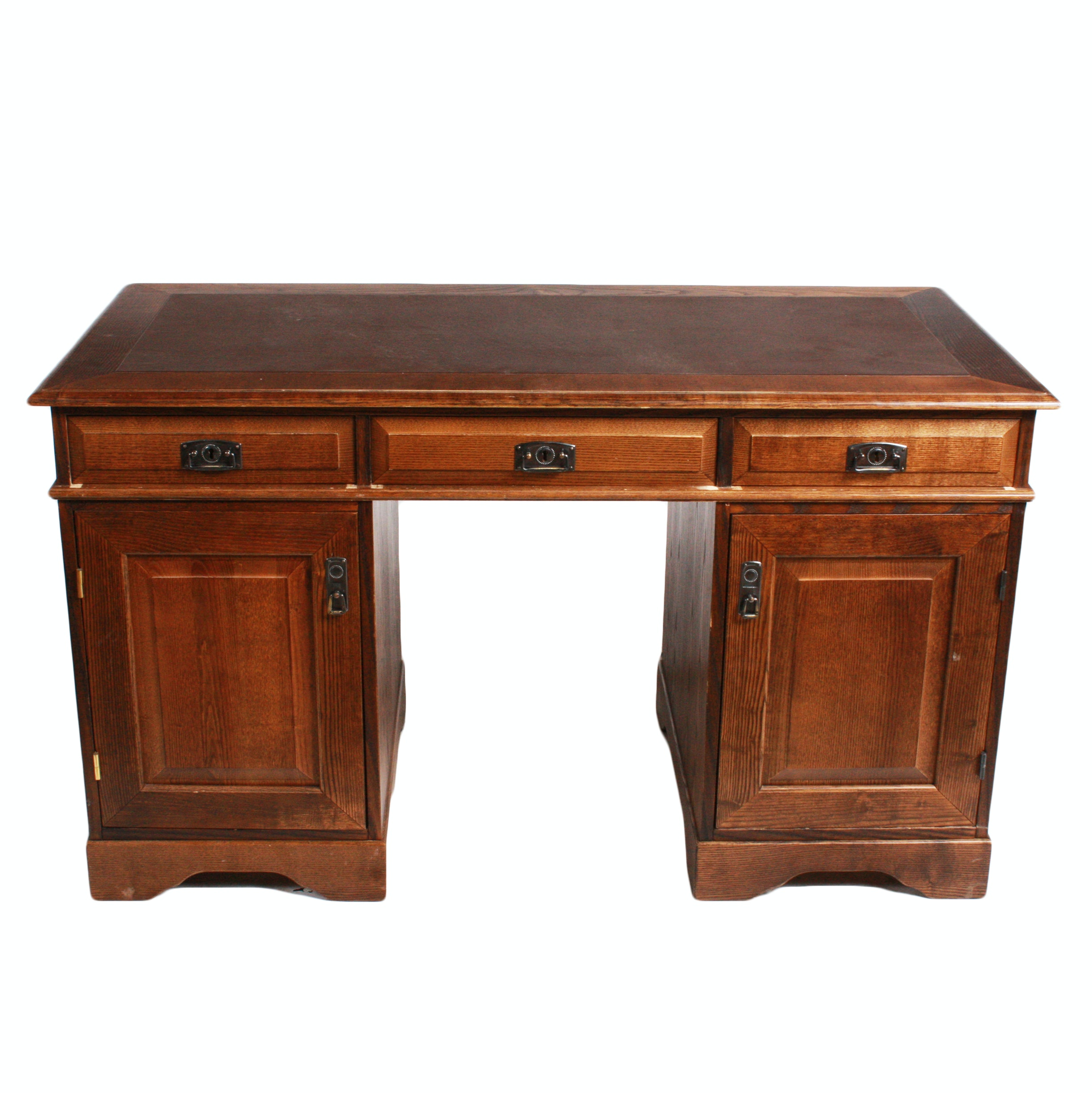 Vintage Double Pedestal Executive Desk with Leather Top