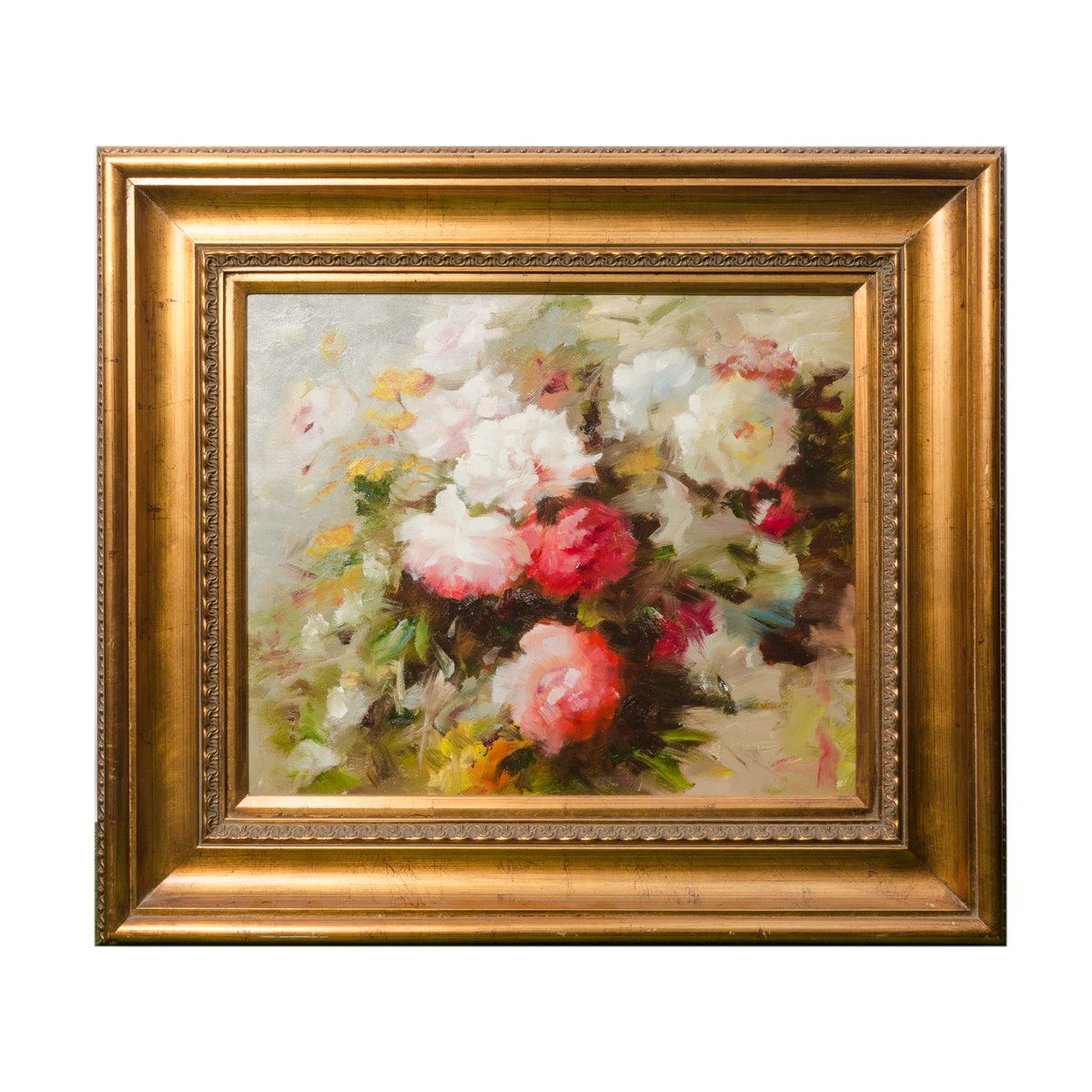 Late 20th-Century Oil Painting of Impressionist-Inspired Floral Still Life