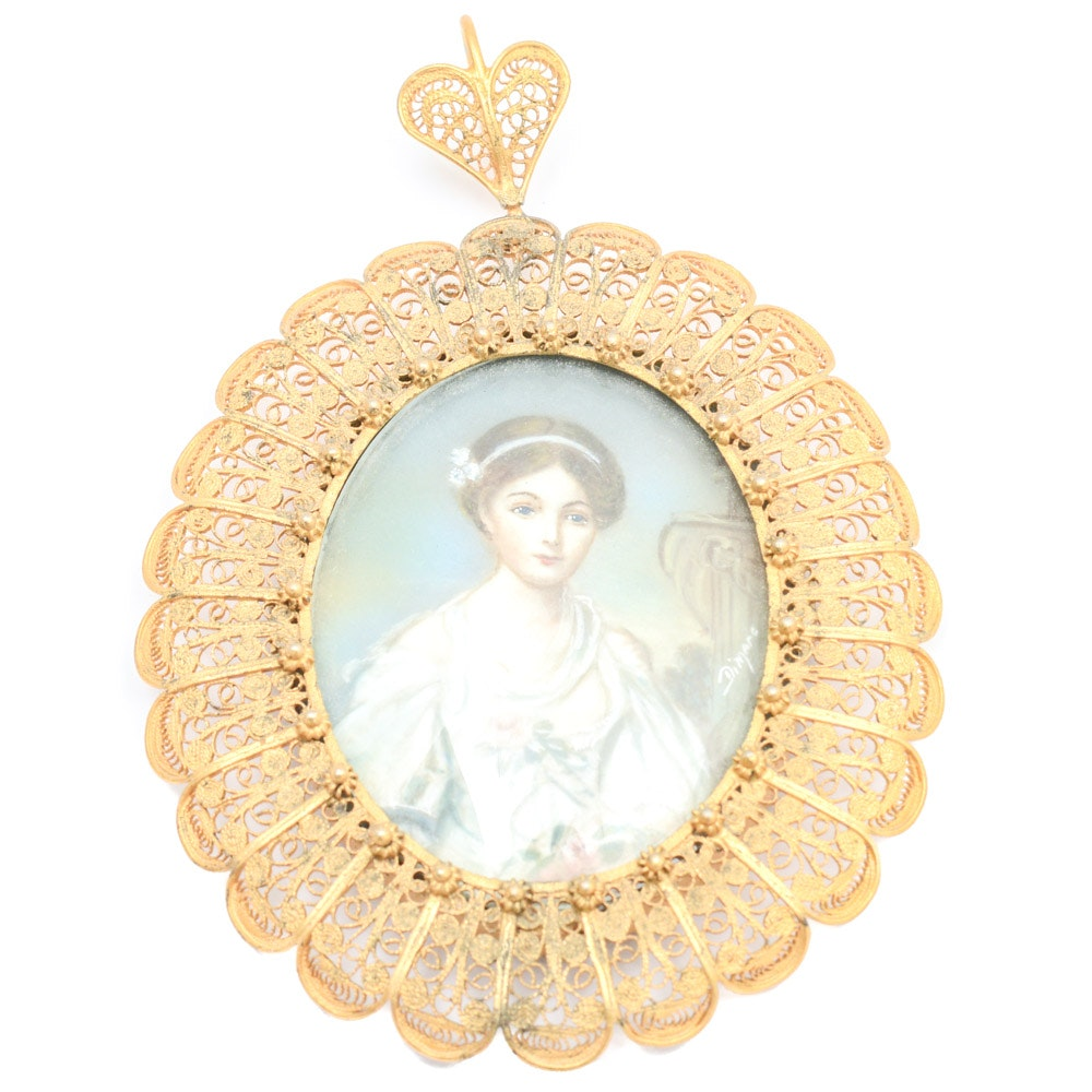 Antique Gold Wash on 800 Silver Filigree Framed Miniature Portrait Painting