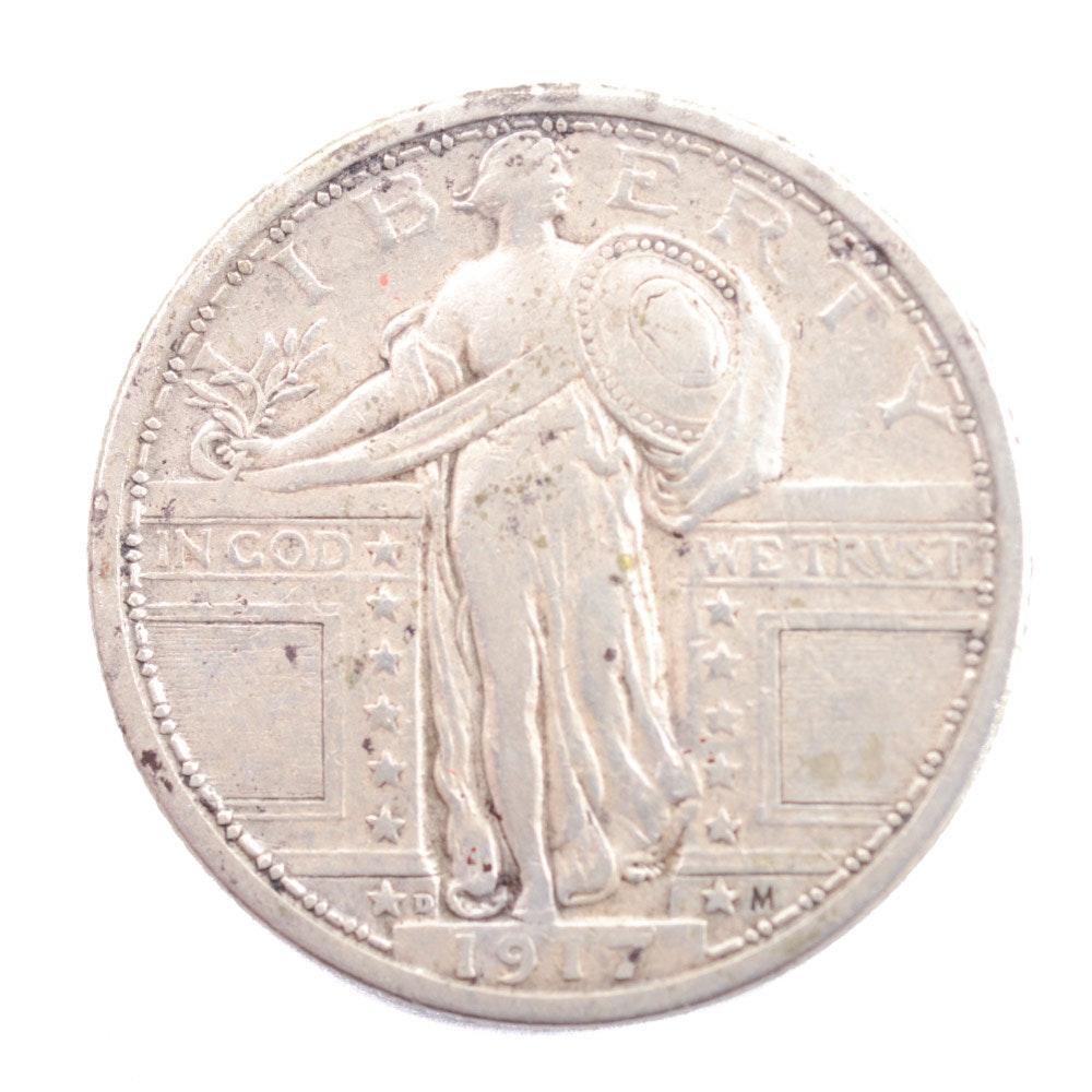 1917-D Standing Liberty Silver Quarter