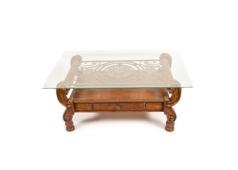 Italian Style Glass Top Coffee Table
