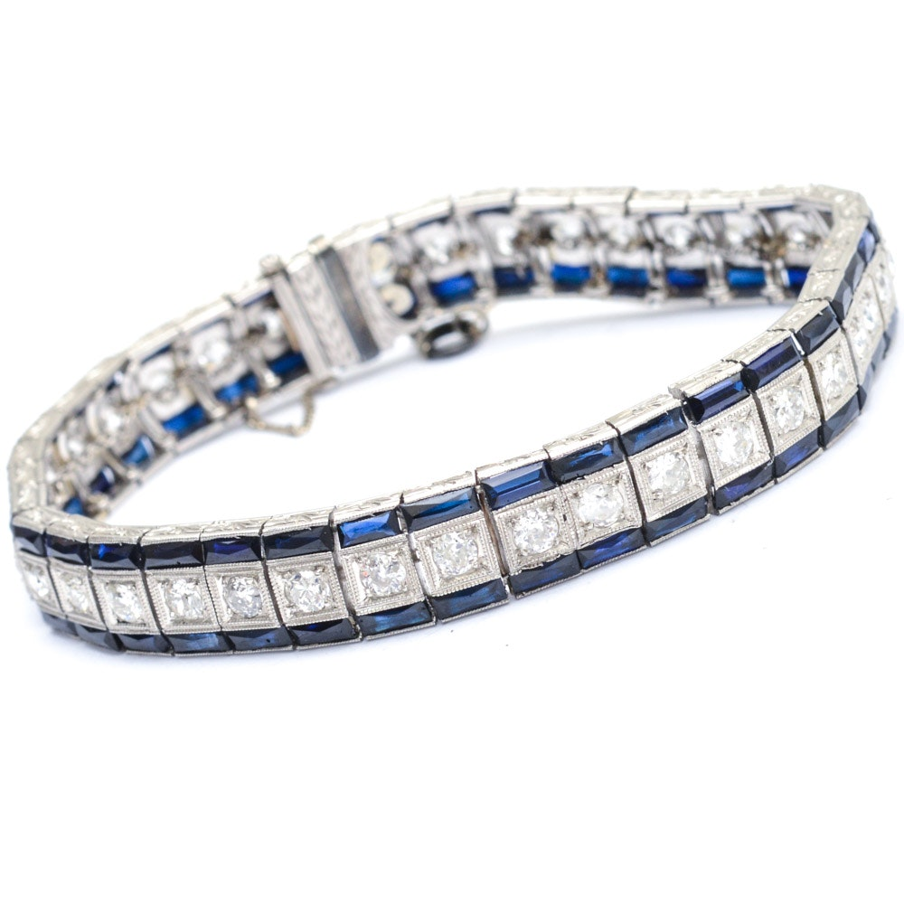 Art Deco Platinum 3.00 CTW Diamond and Synthetic Sapphire Bracelet
