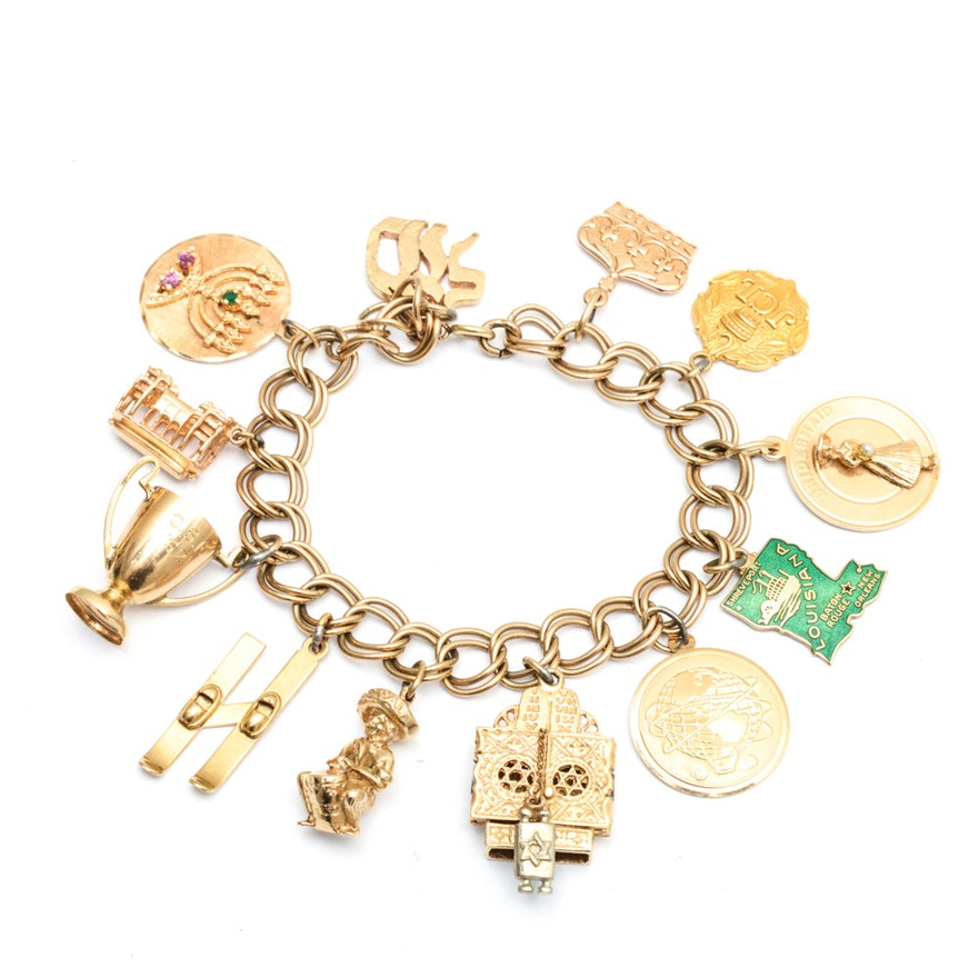 10k Yellow Gold Charm Bracelet With 14k And Charms