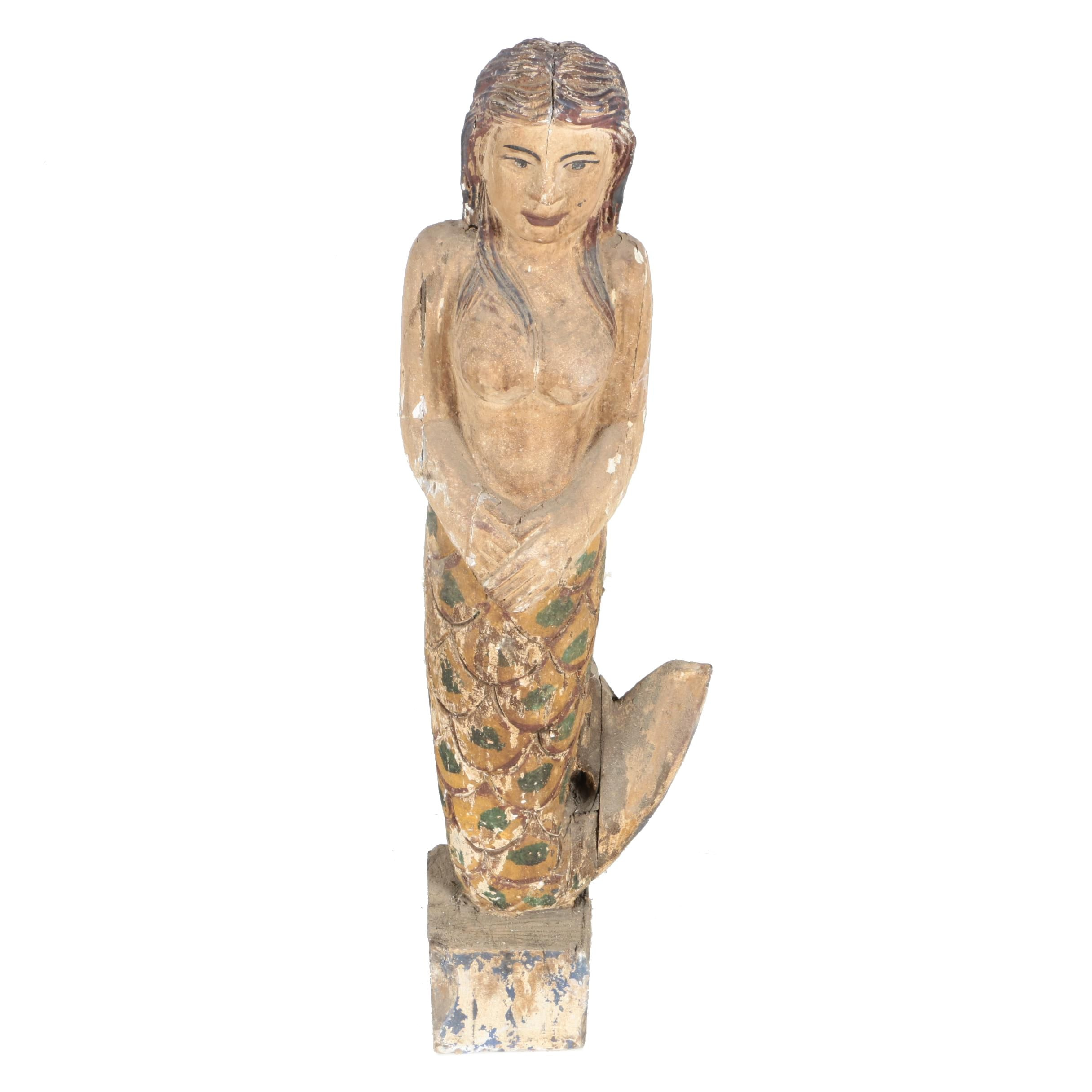 Folk Art Carved Polychrome Mermaid