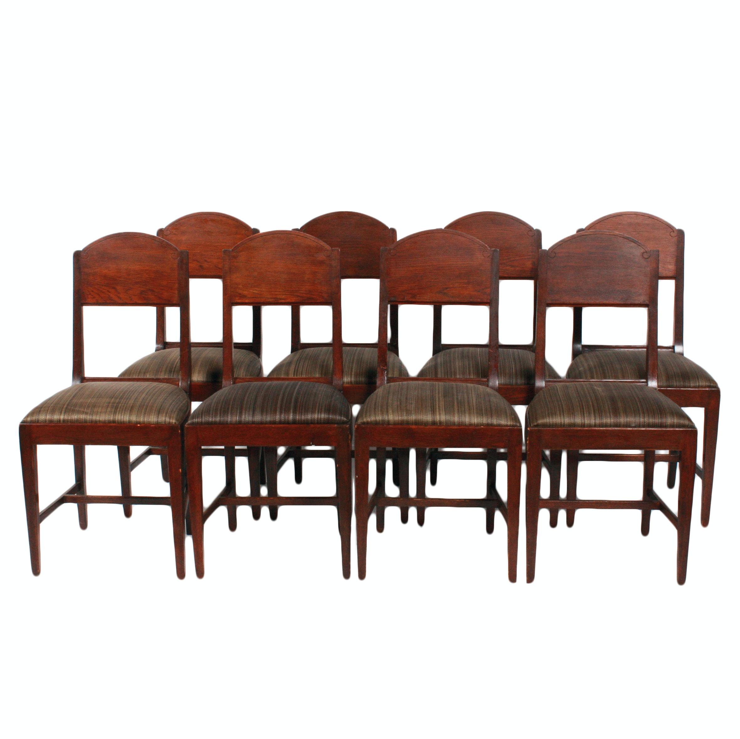 Eight Hepplewhite Style Walnut Dining Chairs