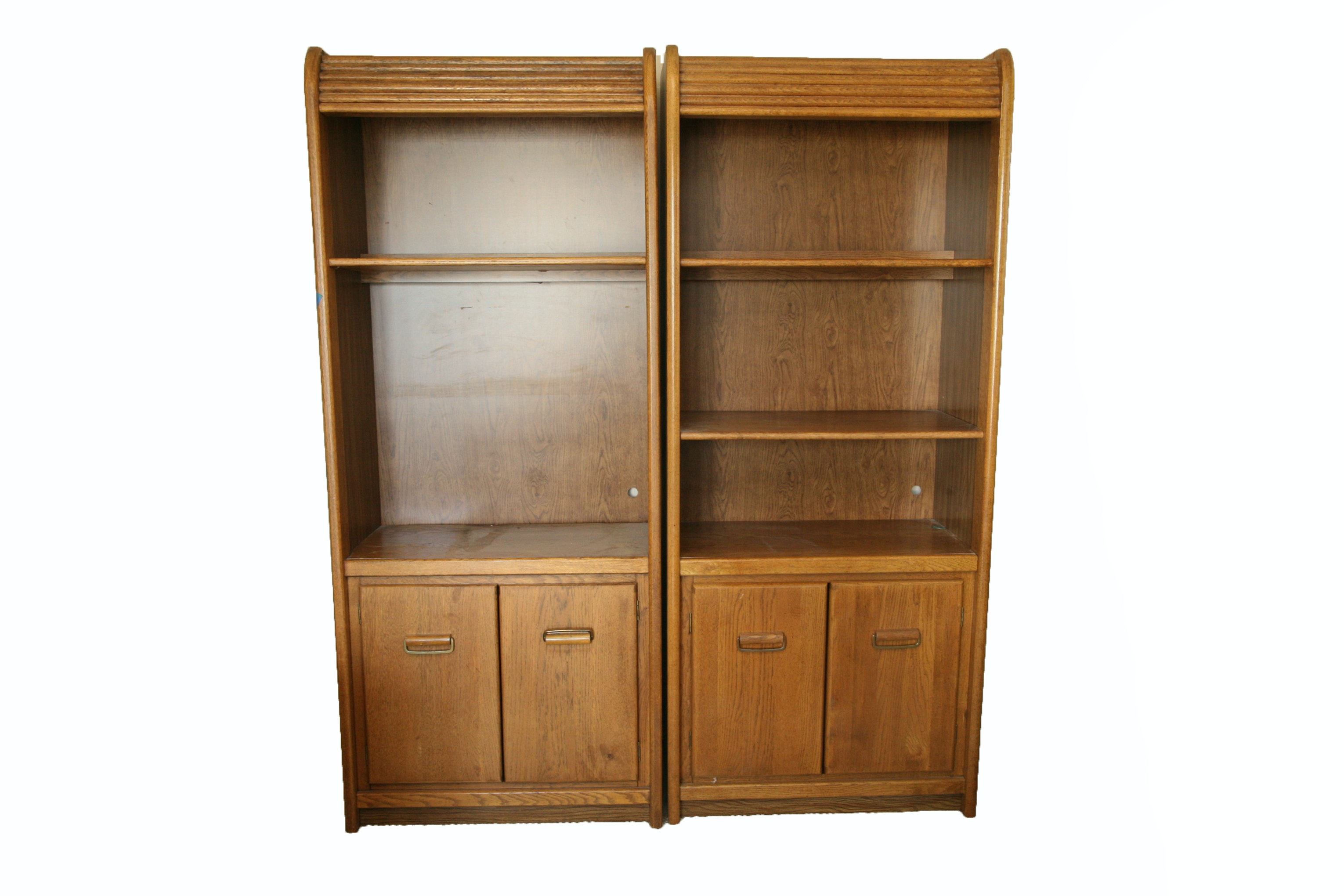 Pair of Campaign Style Bookshelves