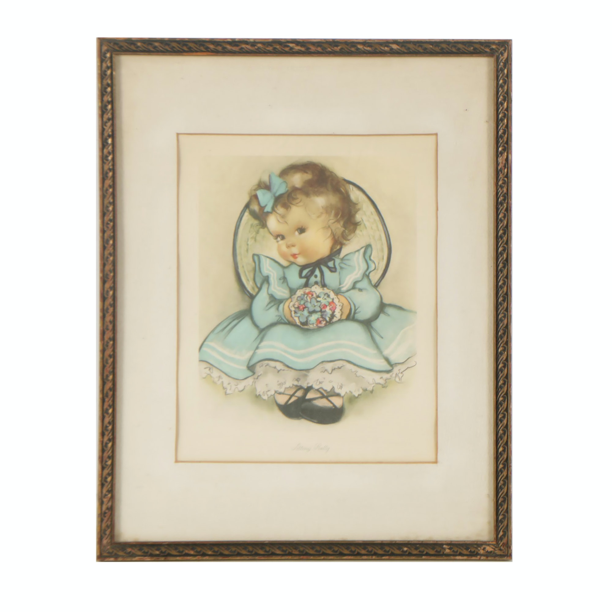 "Offset Lithograph of Child ""Sitting Pretty"""