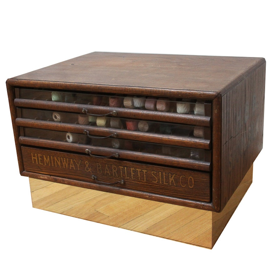 Antique Heminway & Bartlett Silk Company Spool Cabinet ... - Antique Heminway & Bartlett Silk Company Spool Cabinet : EBTH