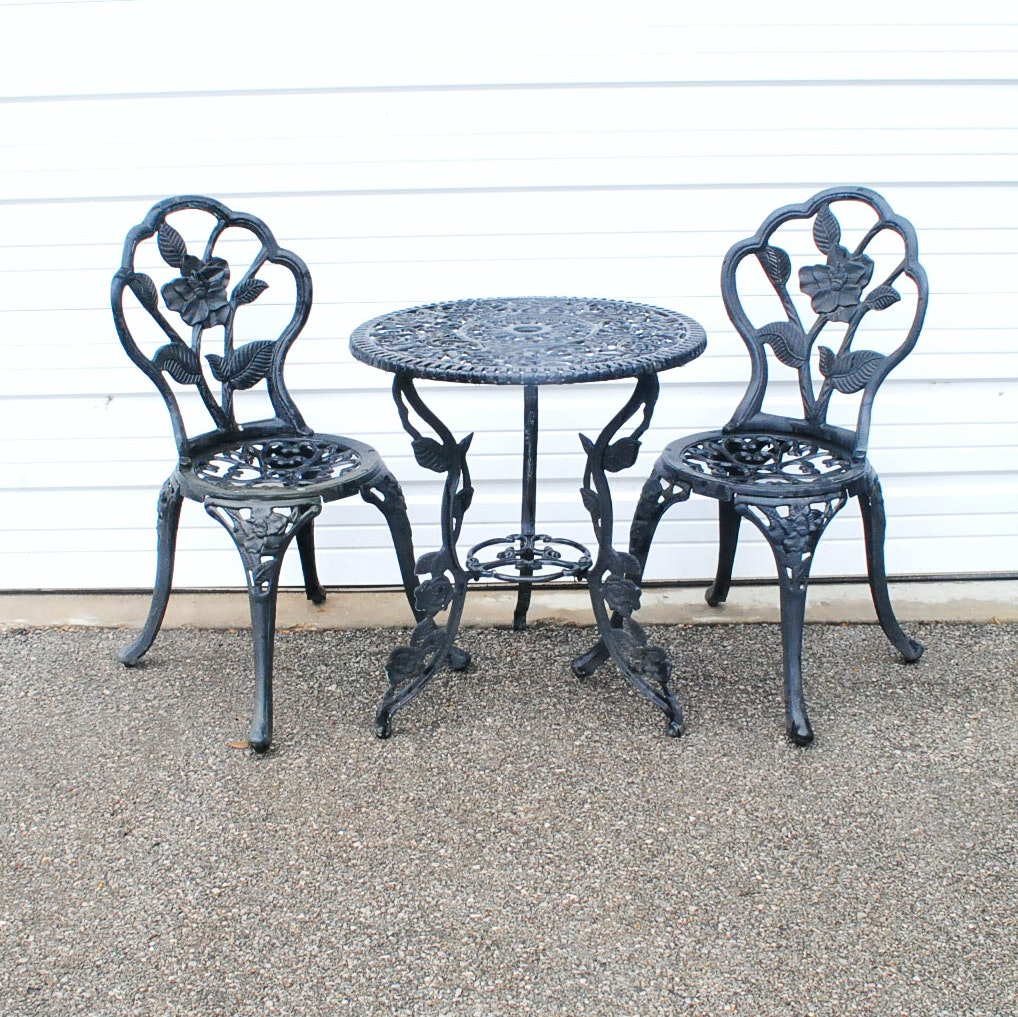 Metal Patio Table and Two Chairs
