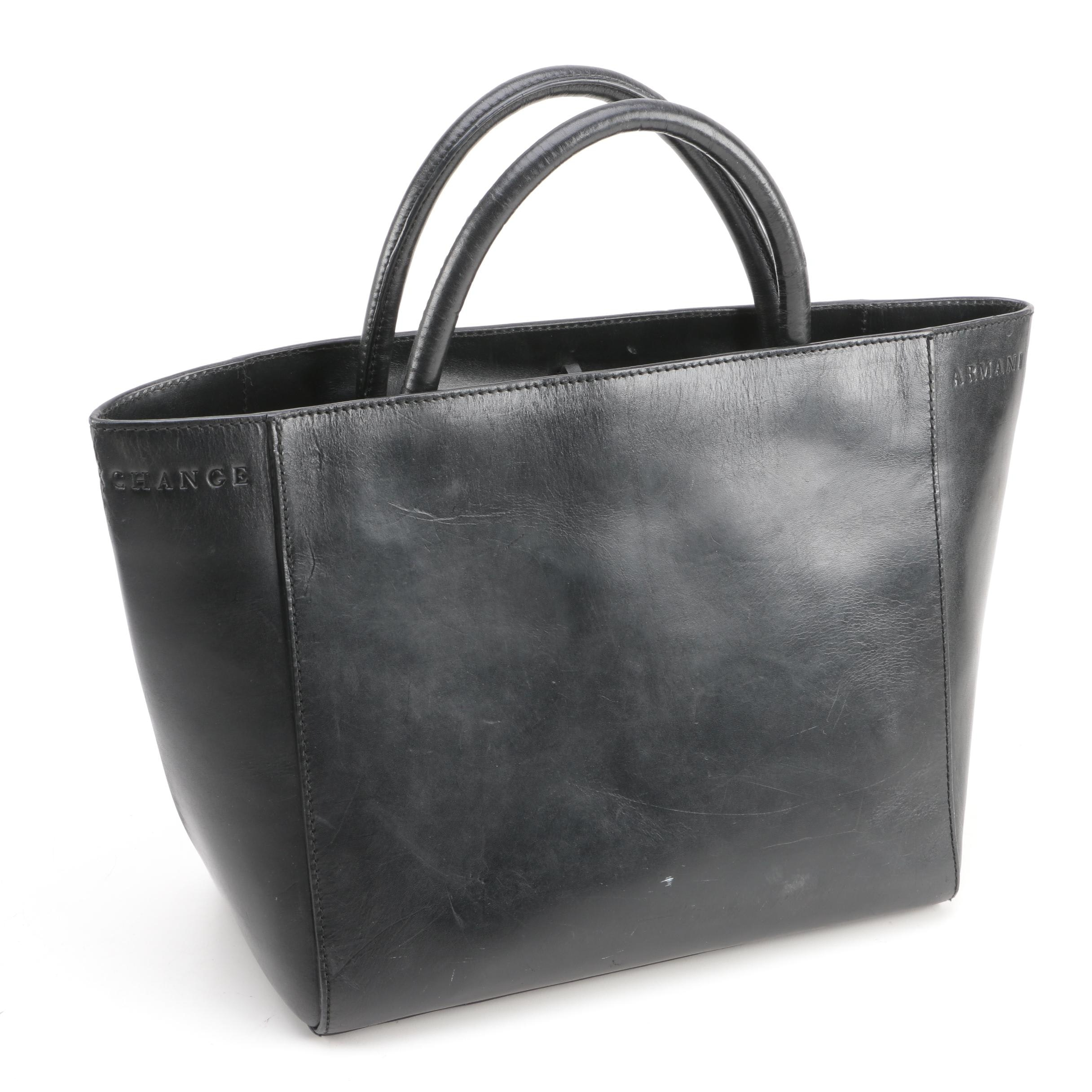 Armani Exchange Black Leather Tote