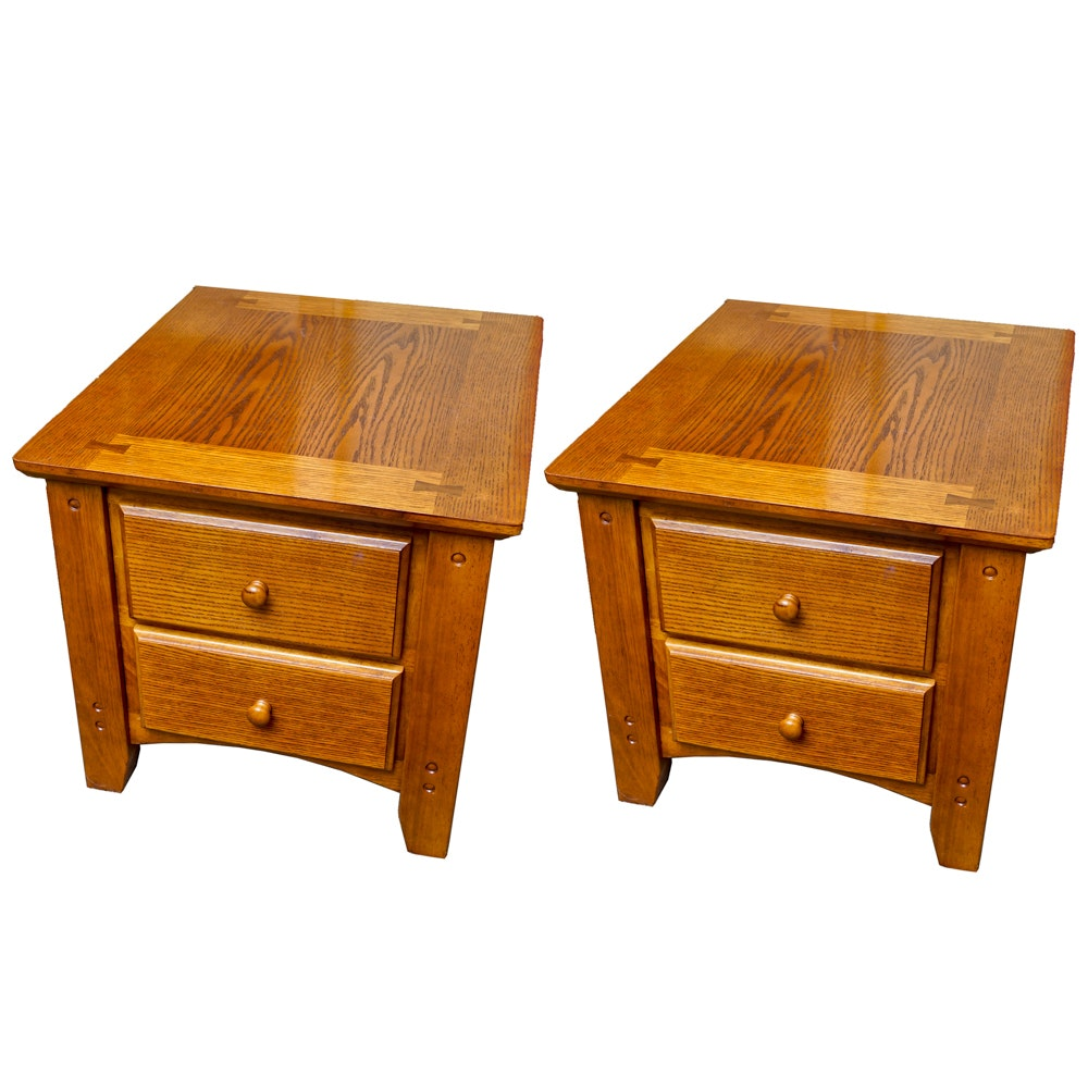 Pair of Oak Side Tables with Drawers