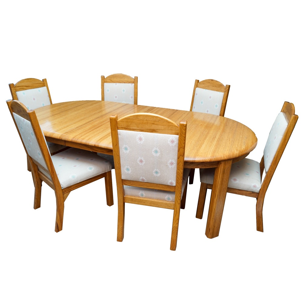 Contemporary Style Oak Dining Table and Chairs