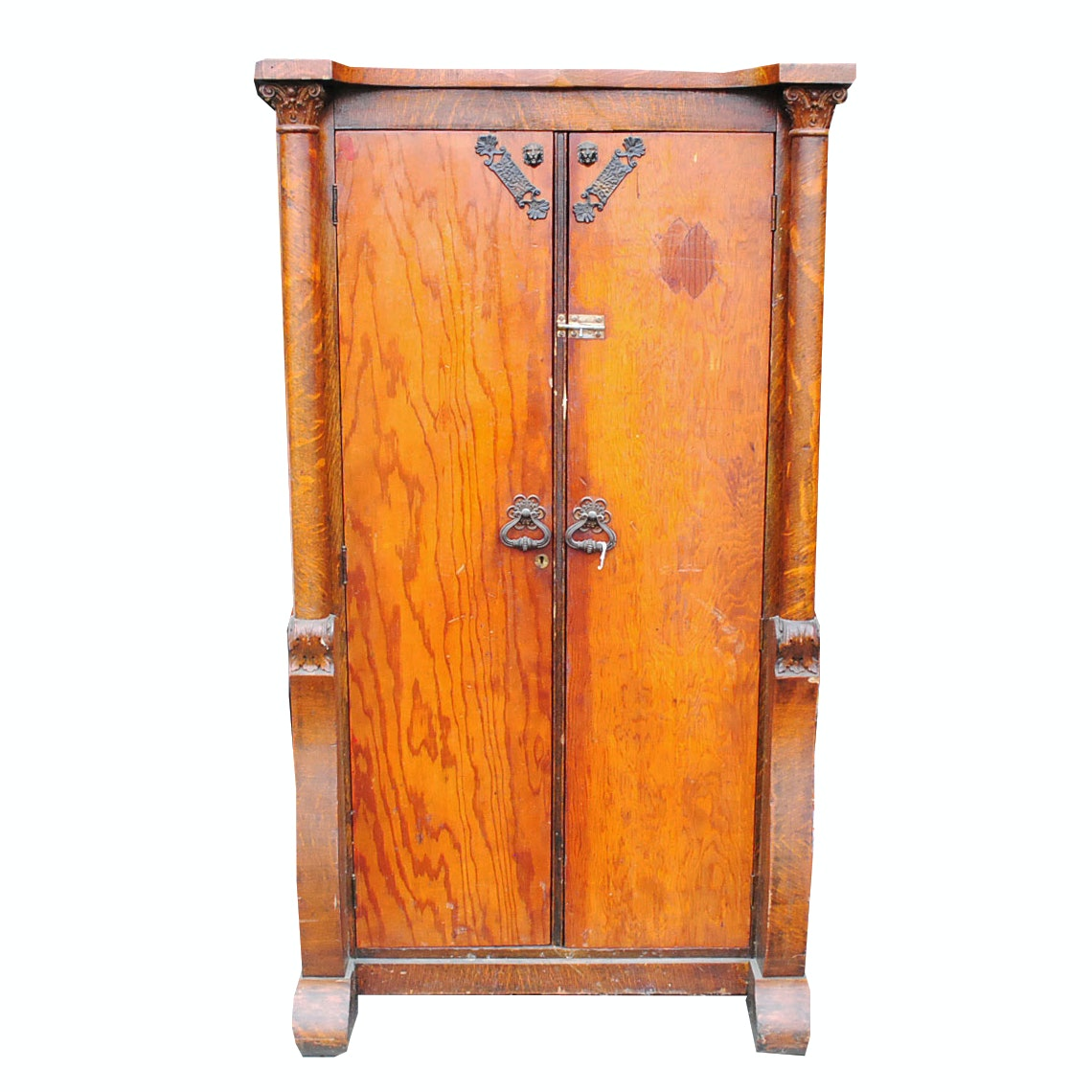 Antique Wardrobe Oak Cabinet with Plywood Doors