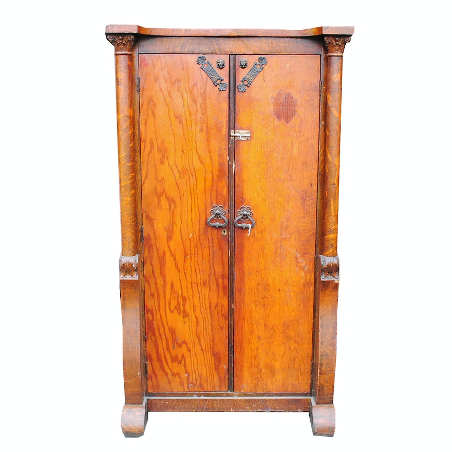 Antique Wardrobe Oak Cabinet with Plywood Doors ... - Antique Wardrobe Oak Cabinet With Plywood Doors : EBTH