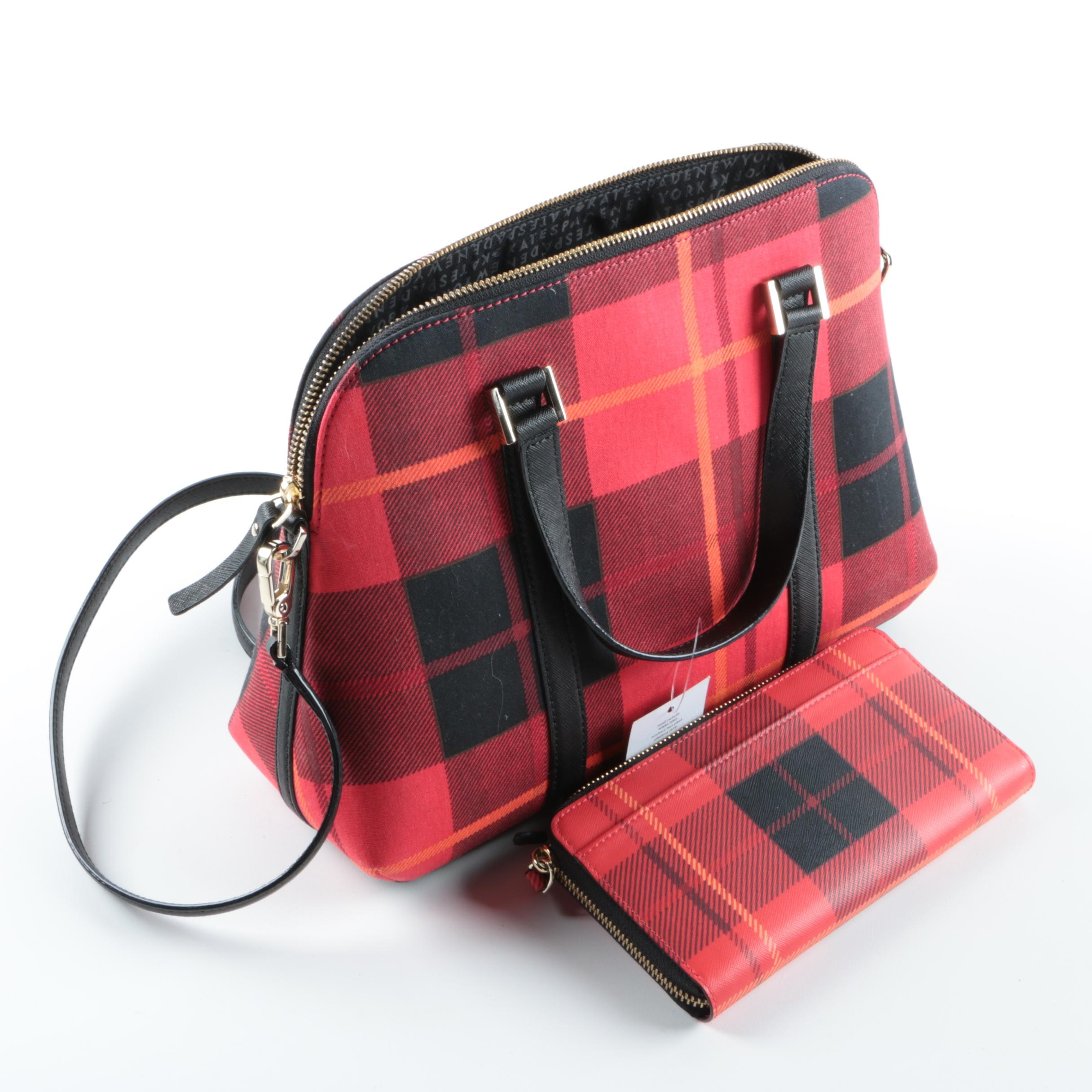 Kate Spade New York Small Rachelle Newbury Lane Plaid Handbag and Wallet