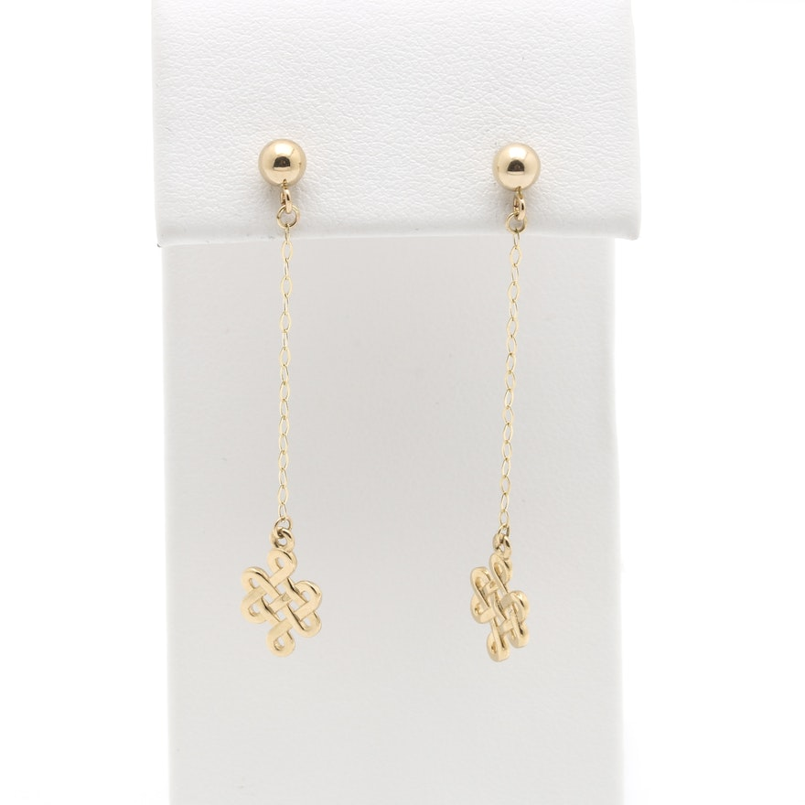 14k Yellow Gold Chinese Infinity Symbol Earrings Ebth