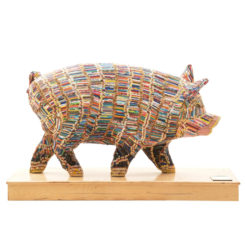 "Cincinnati's ""Big Pig Gig"" Pig Sculpture ""Miss Penciline"" Pig"