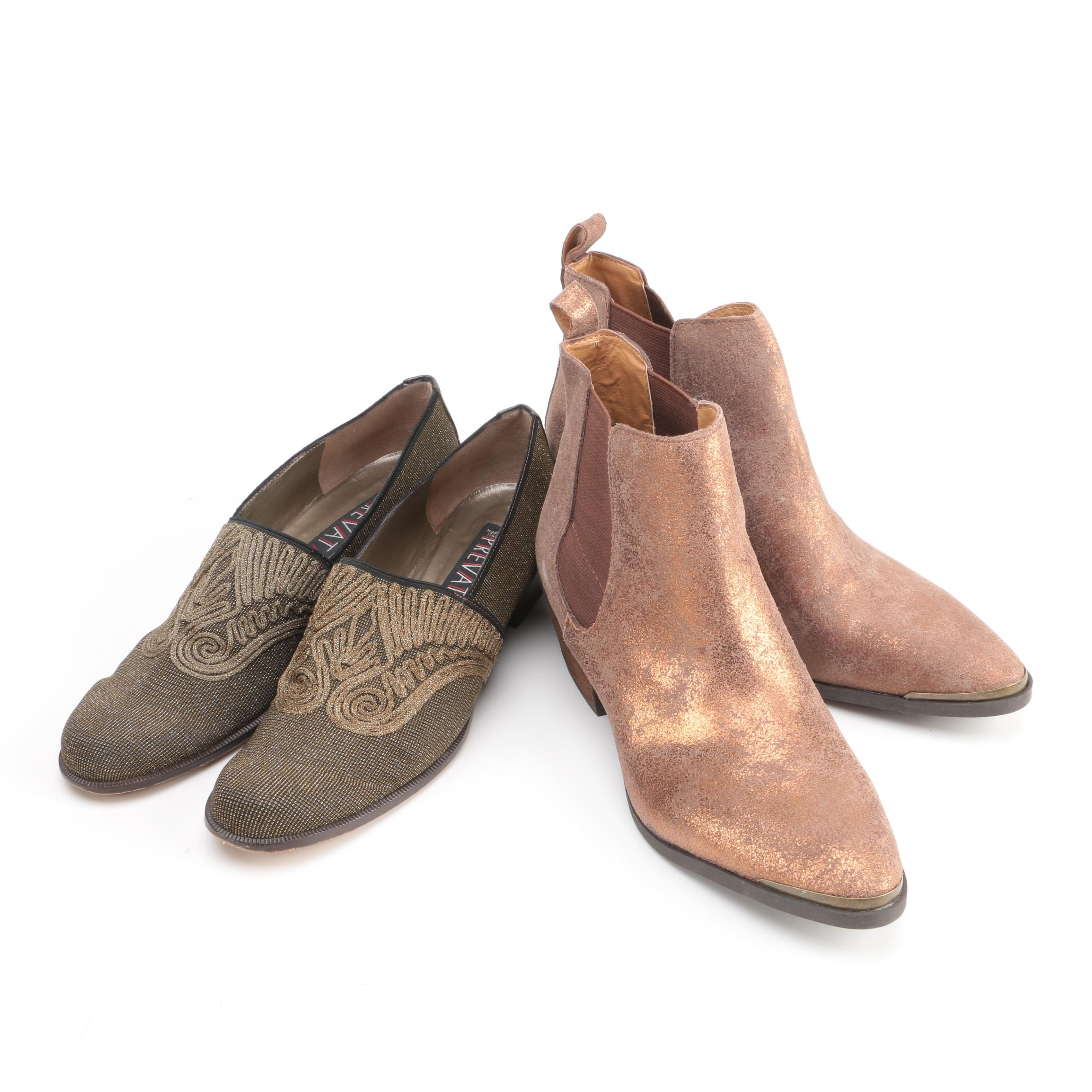 Prevata Embroidered Pumps and Ralph Lauren Denim & Supply Leather Booties