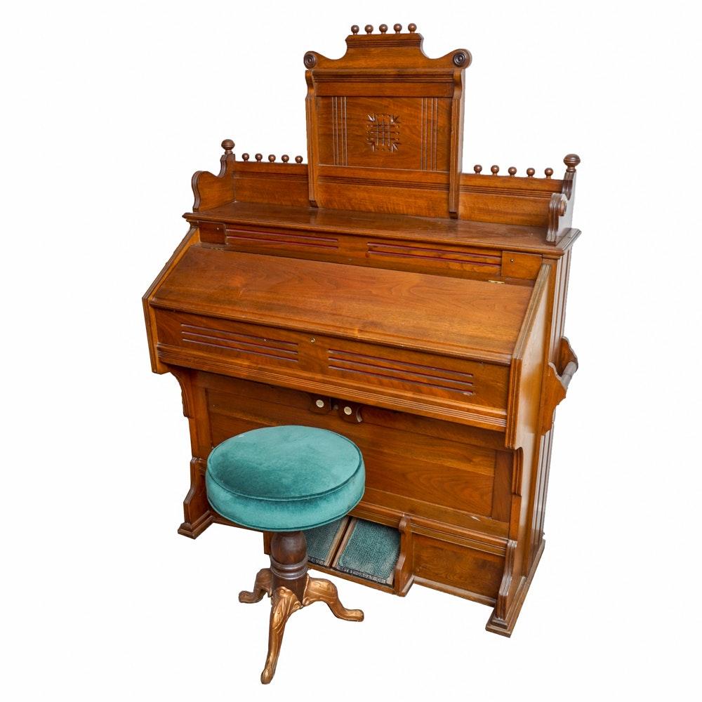 Antique Eastlake Style Estey Organ Company Parlor Organ with Stool