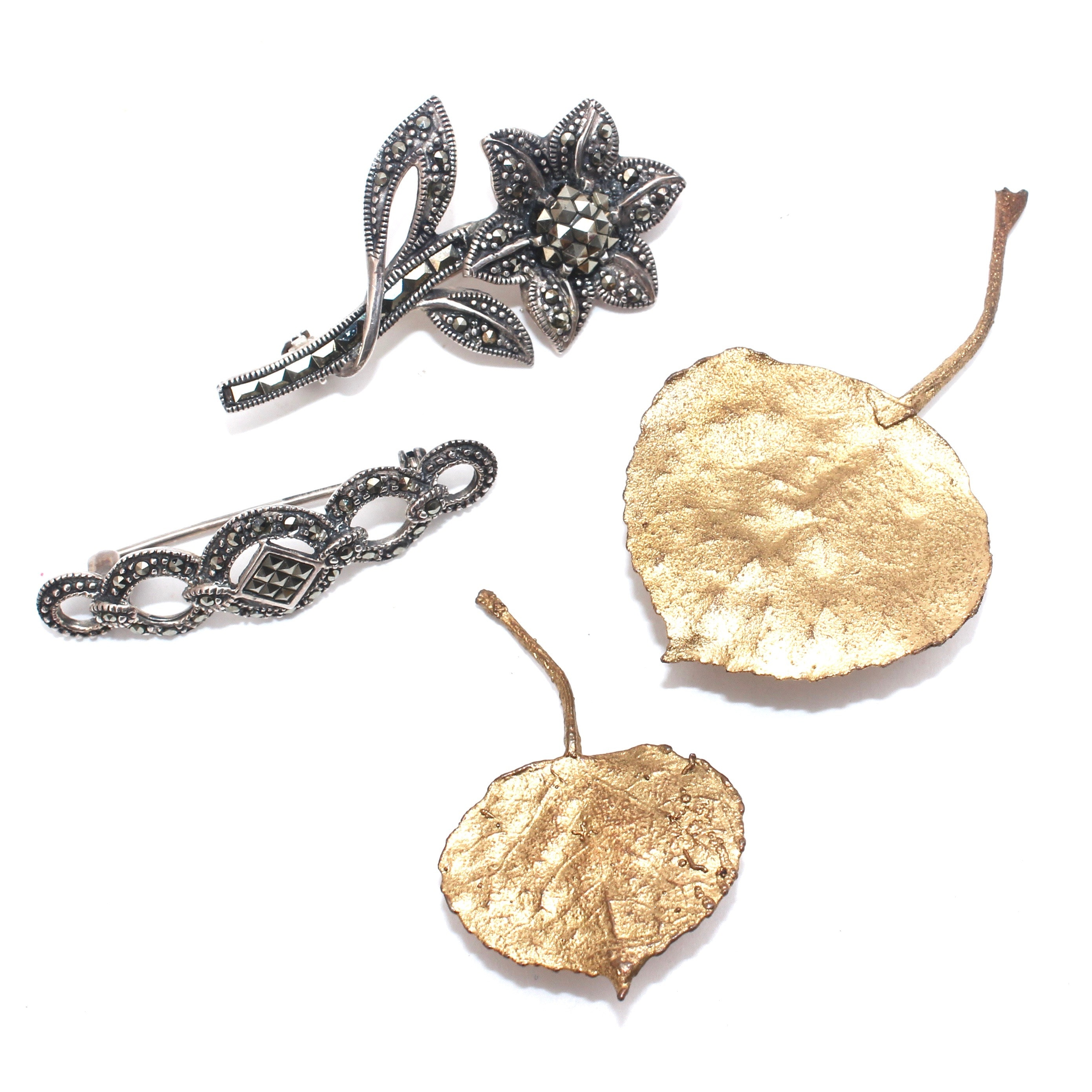 Sterling Silver and Gilt Aspen Leaf Brooches