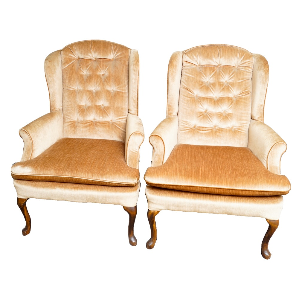 Vintage Queen Anne Style Wingback Armchairs
