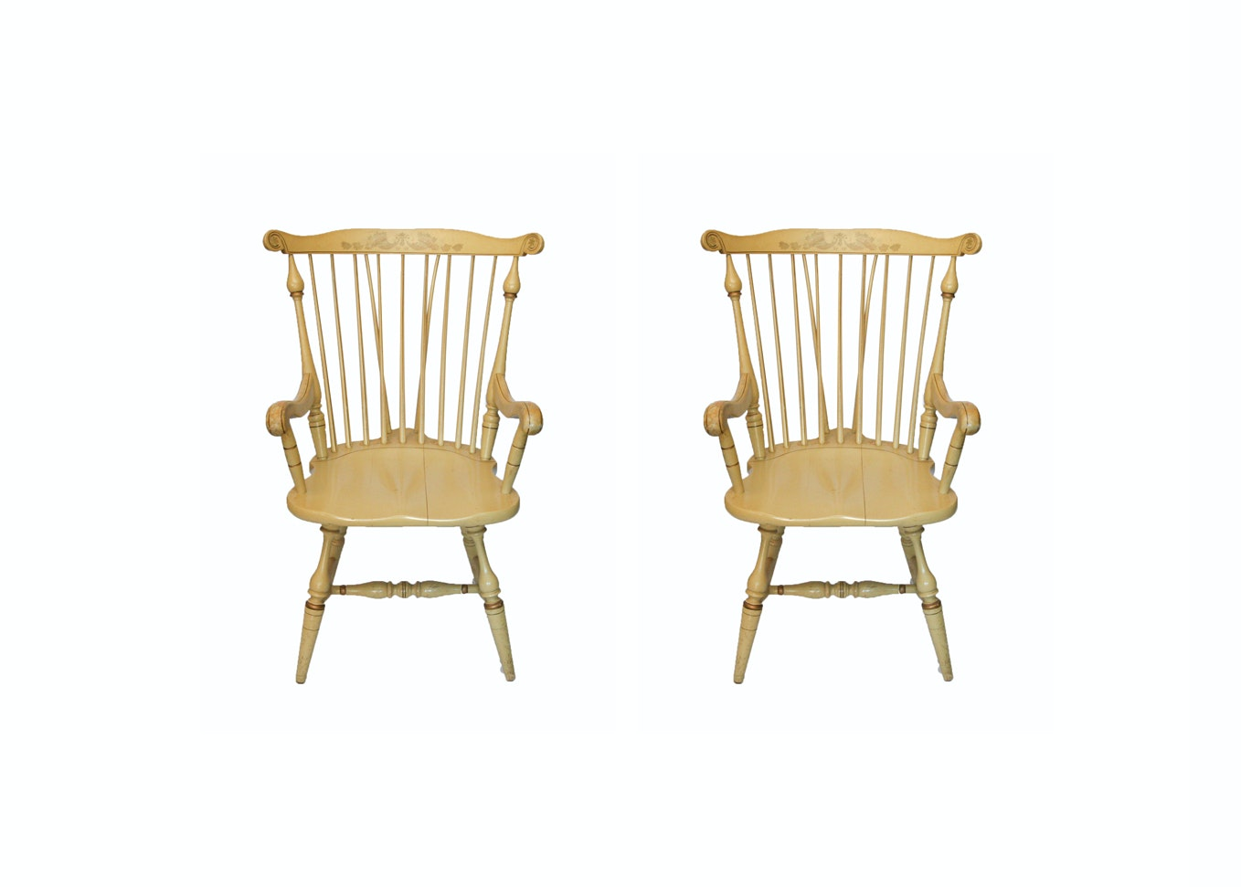 Pair of Vintage Windsor Style Armchairs