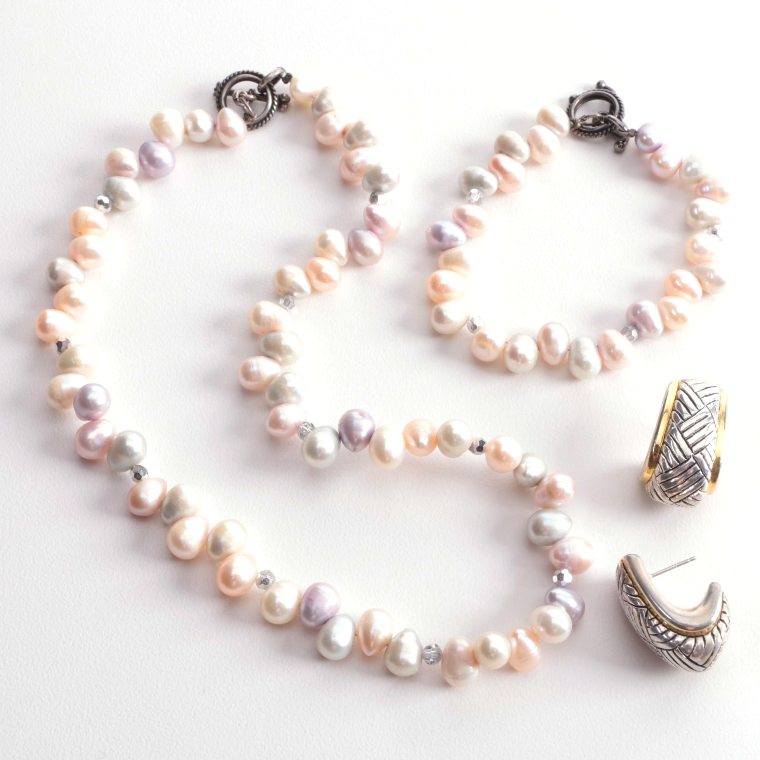 Sterling Silver Earrings with Cultured Pearl Necklace and Bracelet