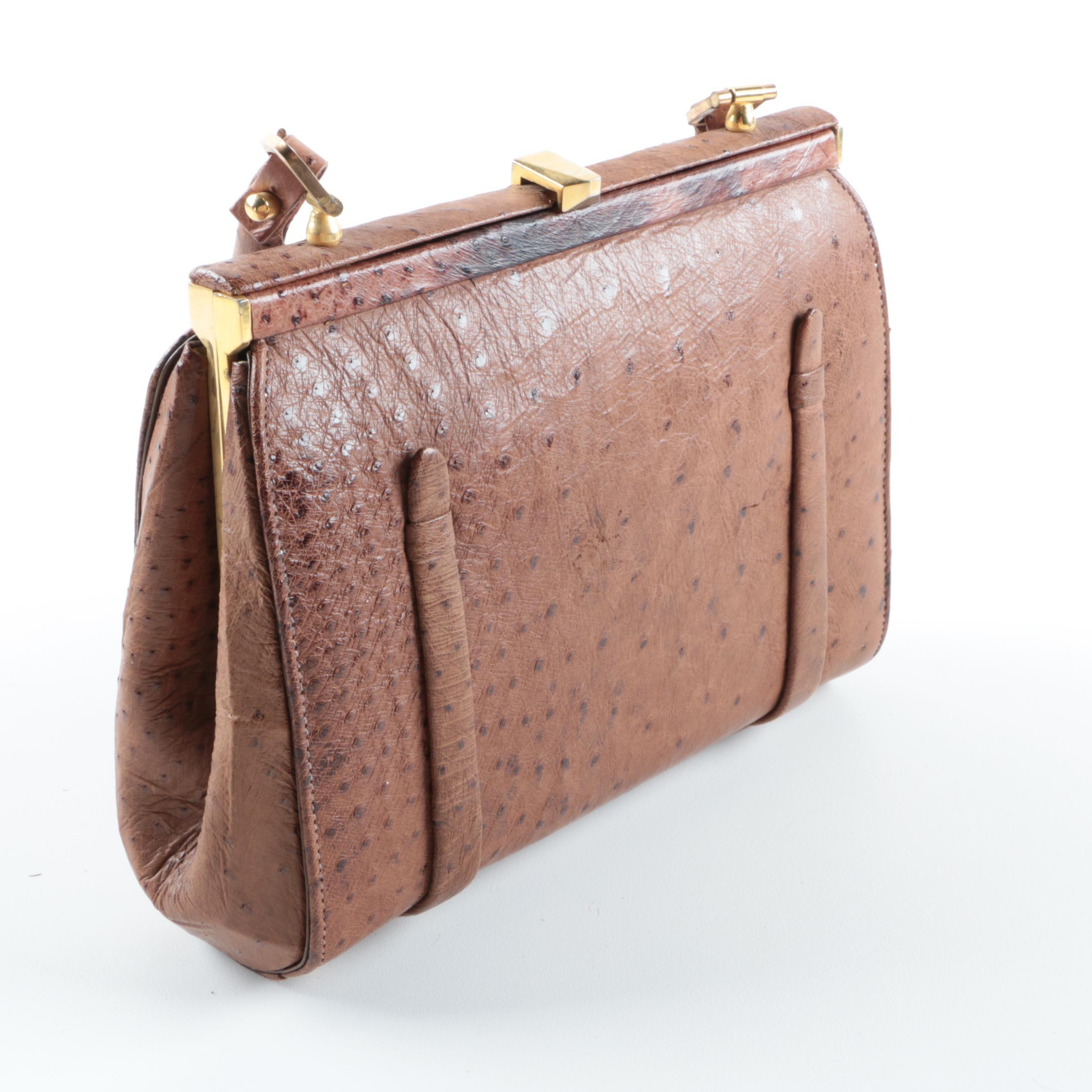 Vintage Vaca Lisa Ostrich Embossed Handbag