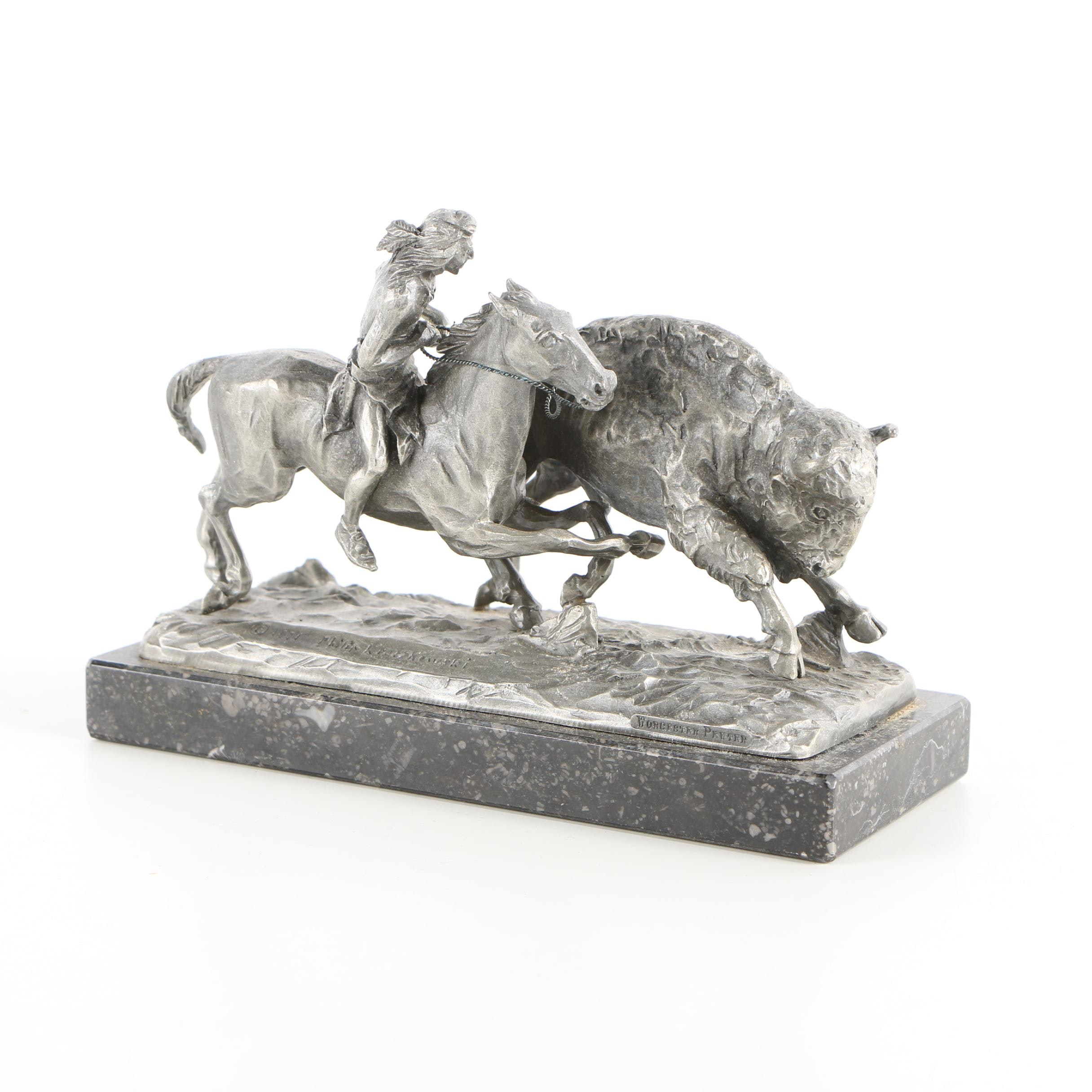 "Philip Kraczkowski Pewter Sculpture ""Buffalo Hunt"""