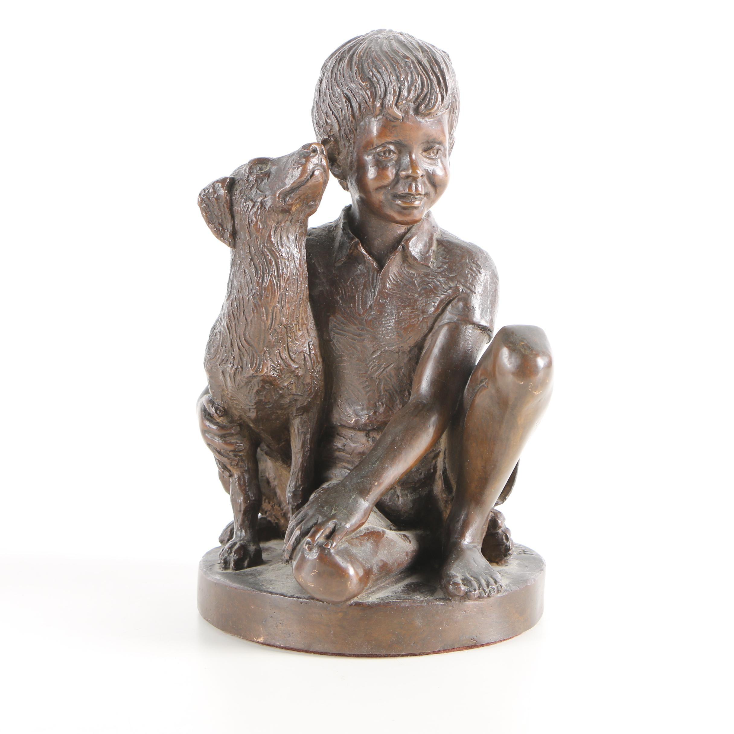 "1974 Bronze Sculpture After Charles Parks ""Boy with Dog"""