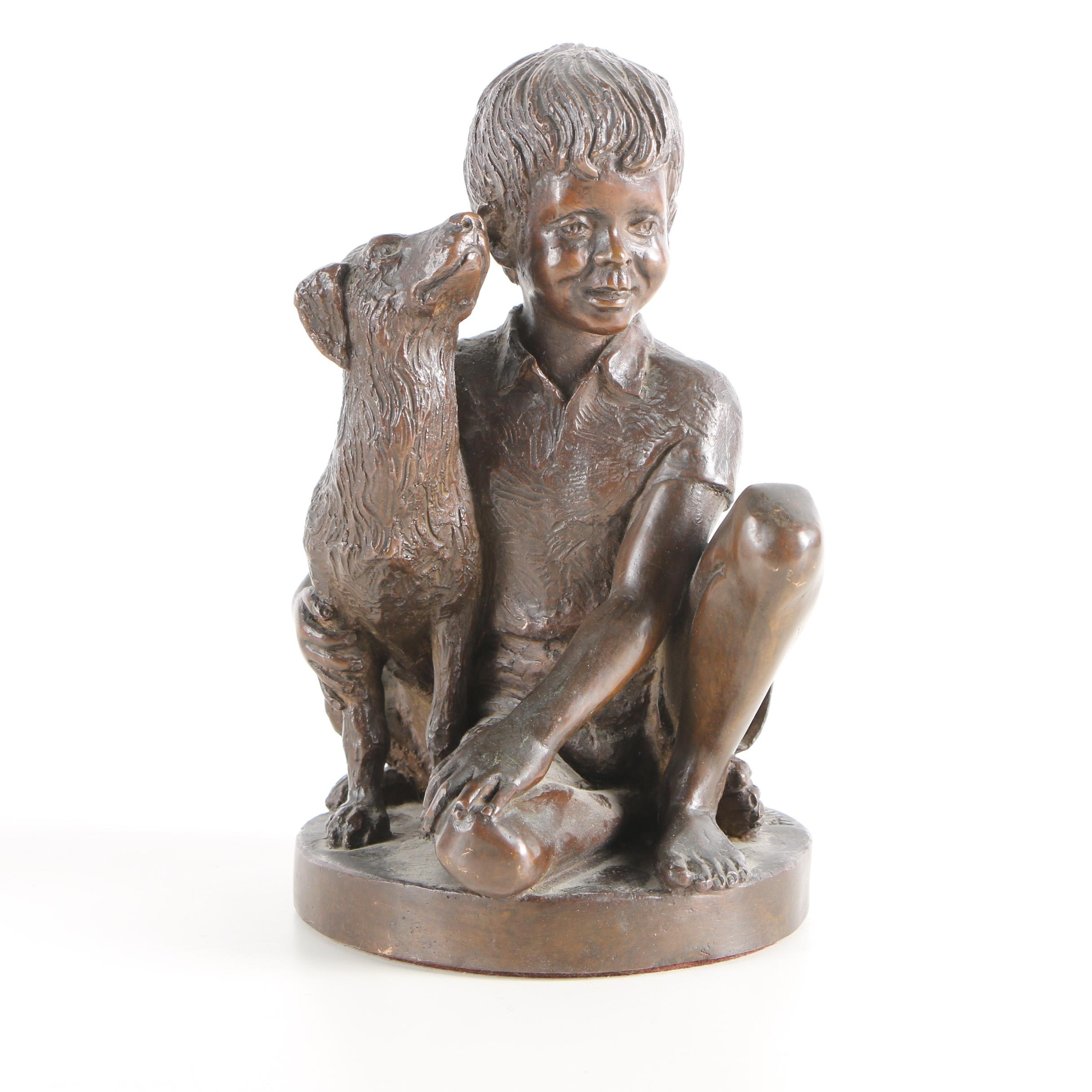 "1974 Bronze Sculpture After Charles Parks ""Boy with Dog"""