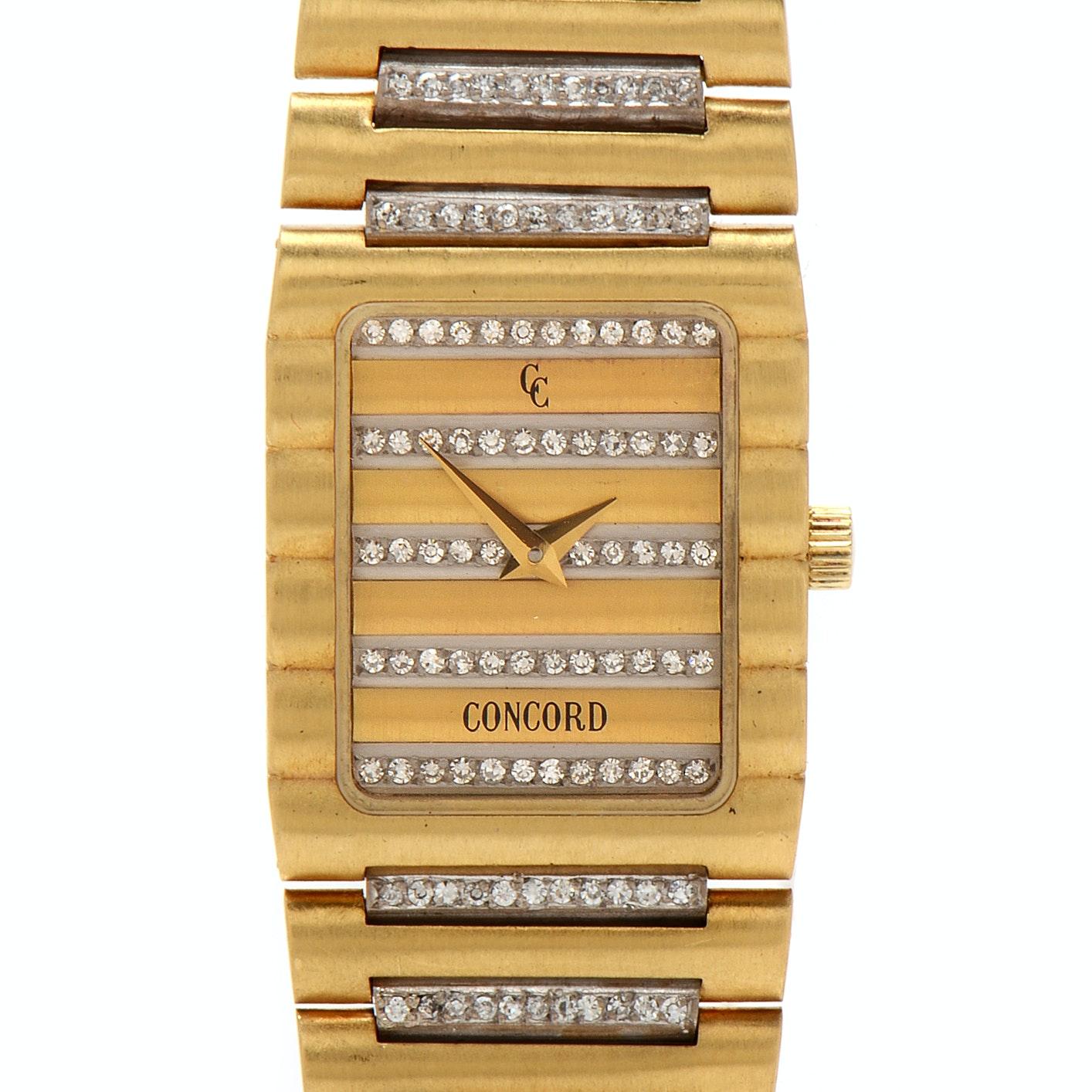 Concord 18K Yellow and White Gold 1.10 CTW Diamond Quartz Wristwatch