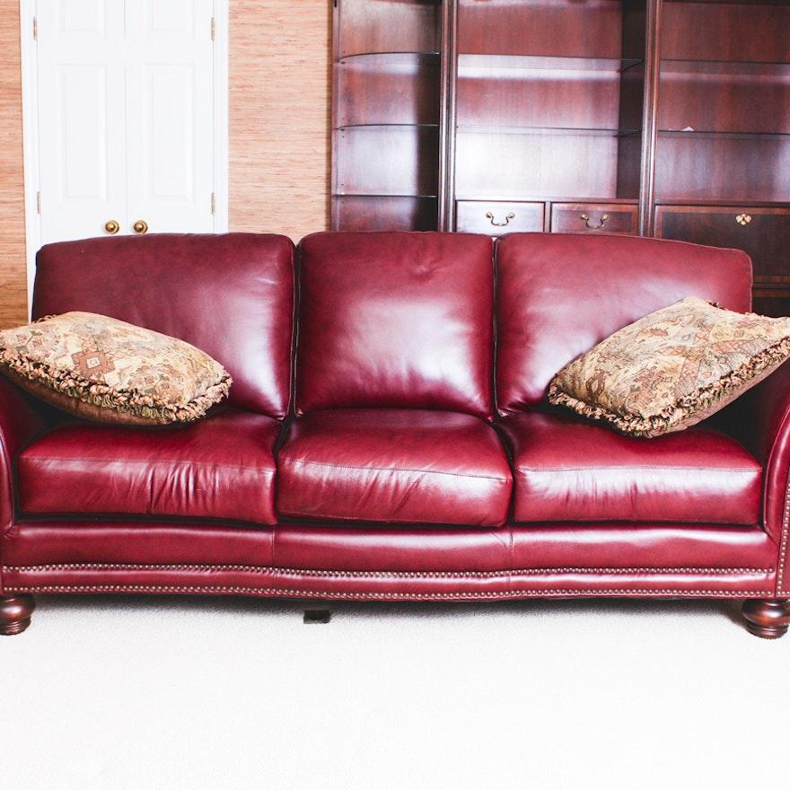 Genuine Leather Sofa in Burgundy : EBTH